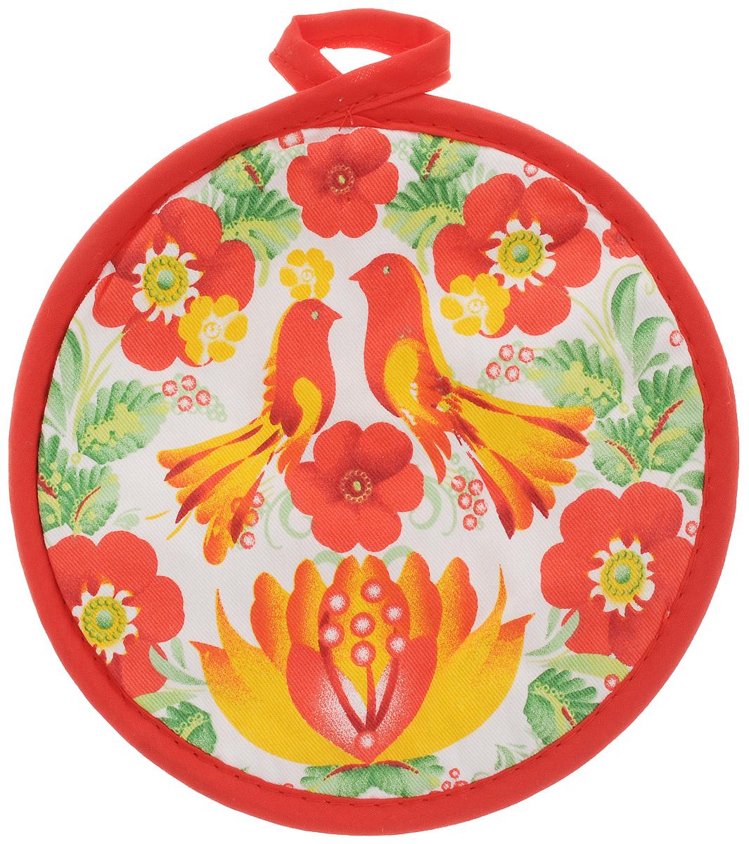 Прихватка Bonita Жар-птица, диаметр 18 см1101211575Прихватка Bonita выполнена из натурального хлопка и декорирована оригинальным рисунком. Изделие оснащено специальной петелькой, за которую его можно подвесить на крючок в любом удобном для вас месте. Такая прихватка красиво дополнит интерьер кухни.