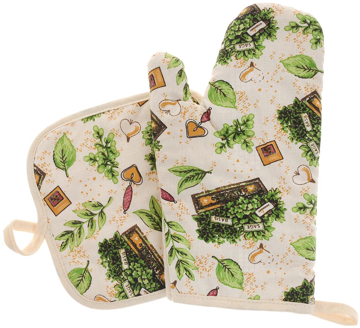 Набор прихваток Bonita Травы, 2 предмета790009Набор Bonita Травы состоит из прихватки-рукавицы и квадратной прихватки. Изделия выполнены из натурального хлопка и декорированы оригинальным рисунком. Прихватки простеганы, а края окантованы. Оснащены специальными петельками, за которые их можно подвесить на крючок в любом удобном для вас месте. Такой набор красиво дополнит интерьер кухни. Размер прихватки-рукавицы: 16 х 28 см.Размер прихватки: 17 х 17 см.