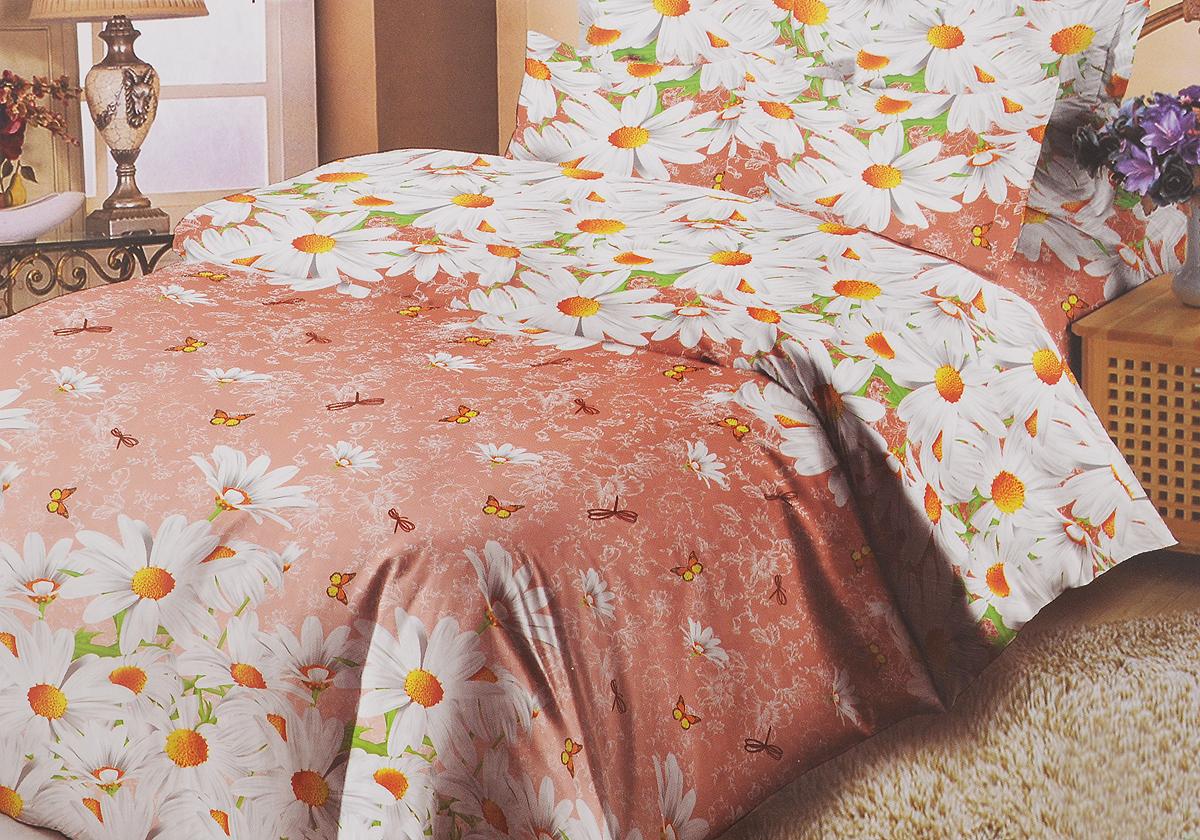 Комплект белья Liya Home Collection Ромашковый рай, 1,5-спальный, наволочки 70x70, цвет: коралловый, серыйS03301004Комплект белья Liya Home Collection Ромашковый рай состоит из пододеяльника, простыни и двух наволочек. Изделия выполнены из хлопка (70%) и полиэстера (30%).Хлопок является классическим примером гигроскопичности, гигиеничности, натуральности и простоты. Сочетание его с полиэстером лишает ткань присущих хлопку недостатков. Изделия из хлопка с полиэстером не выгорают, не растягиваются, дольше используются. Постельное белье из хлопка с полиэстером имеет двукратную продолжительность эксплуатации, по сравнению с чистым хлопком, оно не мнется и сохнет очень быстро.