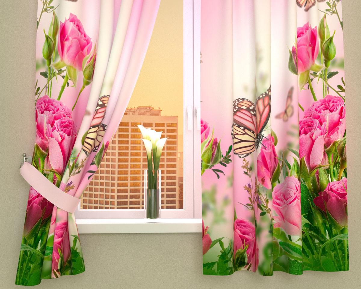 Комплект фотоштор Сирень Стайка бабочек на розах, на ленте, высота 160 см02355-ФК-ГБ-002Фотошторы для кухни Сирень Стайка бабочек на розах, выполненные из габардина (100% полиэстера), отлично дополнят украшение любого интерьера. Особенностью ткани габардин является небольшая плотность, из-за чего ткань хорошо пропускает воздух и солнечный свет. Ткань хорошо держит форму, не требует специального ухода. Крепление на карниз при помощи шторной ленты на крючки. В комплекте 2 шторы. Ширина одного полотна: 145 см. Высота штор: 160 см. Рекомендации по уходу: стирка при 30 градусах, гладить при температуре до 110 градусов. Изображение на мониторе может немного отличаться от реального. Подхваты в комплект не входят.