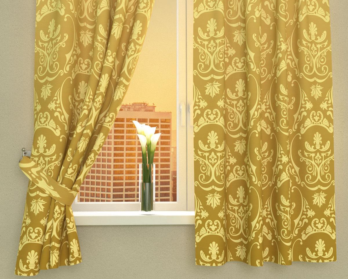 Комплект фотоштор Сирень Золотые вензеля, на ленте, высота 160 см02455-ФК-ГБ-002Фотошторы для кухни Сирень Золотые вензеля, выполненные из габардина (100% полиэстера), отлично дополнят украшение любого интерьера. Особенностью ткани габардин является небольшая плотность, из-за чего ткань хорошо пропускает воздух и солнечный свет. Ткань хорошо держит форму, не требует специального ухода. Крепление на карниз при помощи шторной ленты на крючки. В комплекте 2 шторы. Ширина одного полотна: 145 см. Высота штор: 160 см. Рекомендации по уходу: стирка при 30 градусах, гладить при температуре до 110 градусов. Изображение на мониторе может немного отличаться от реального. Подхваты в комплект не входят.