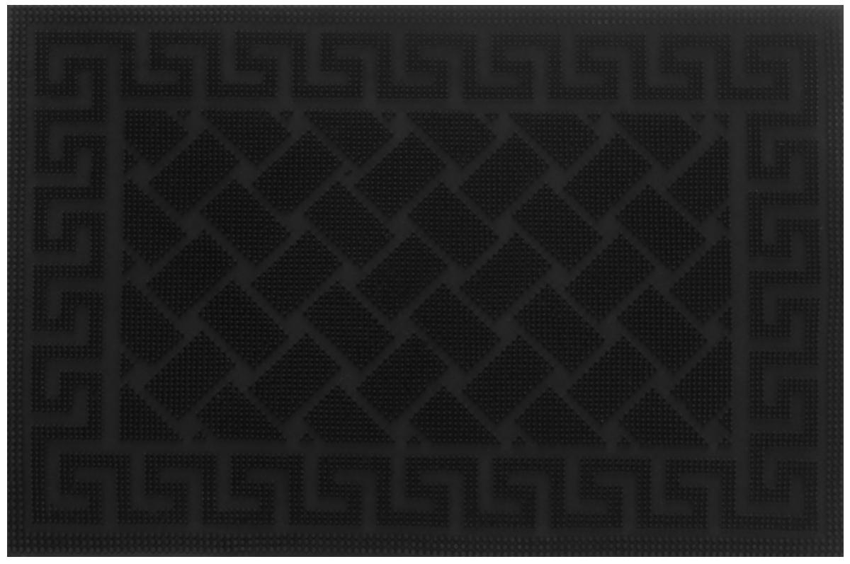 Коврик придверный Shree Sai International Pin Mat. Орнамент, цвет: черный, 60 х 40 см154_черныйПридверный коврик Shree Sai International Pin Mat. Орнамент, выполненный из резины, прост в обслуживании, прочный и устойчивый к различным погодным условиям. Конструкция коврика имеет специальные ребра, которые помогают более эффективно удалять грязь с обуви. Его основа предотвращает скольжение по гладкой поверхности и обеспечивает надежную фиксацию. Такой коврик надежно защитит помещение от уличной пыли и грязи.