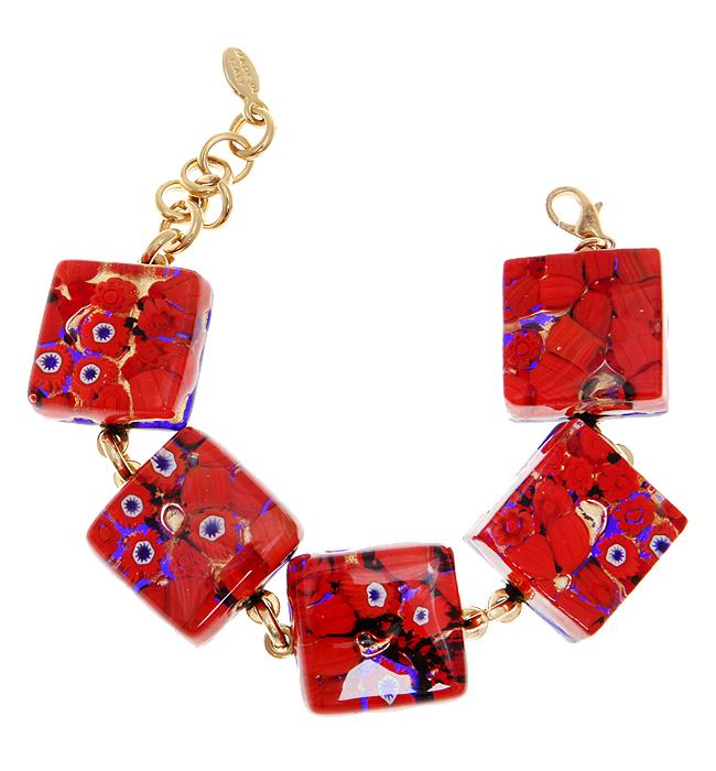 """Браслет """"Красные маки"""". Муранское стекло, бижутерный сплав золотого тона, ручная работа. Murano, Италия (Венеция)"""