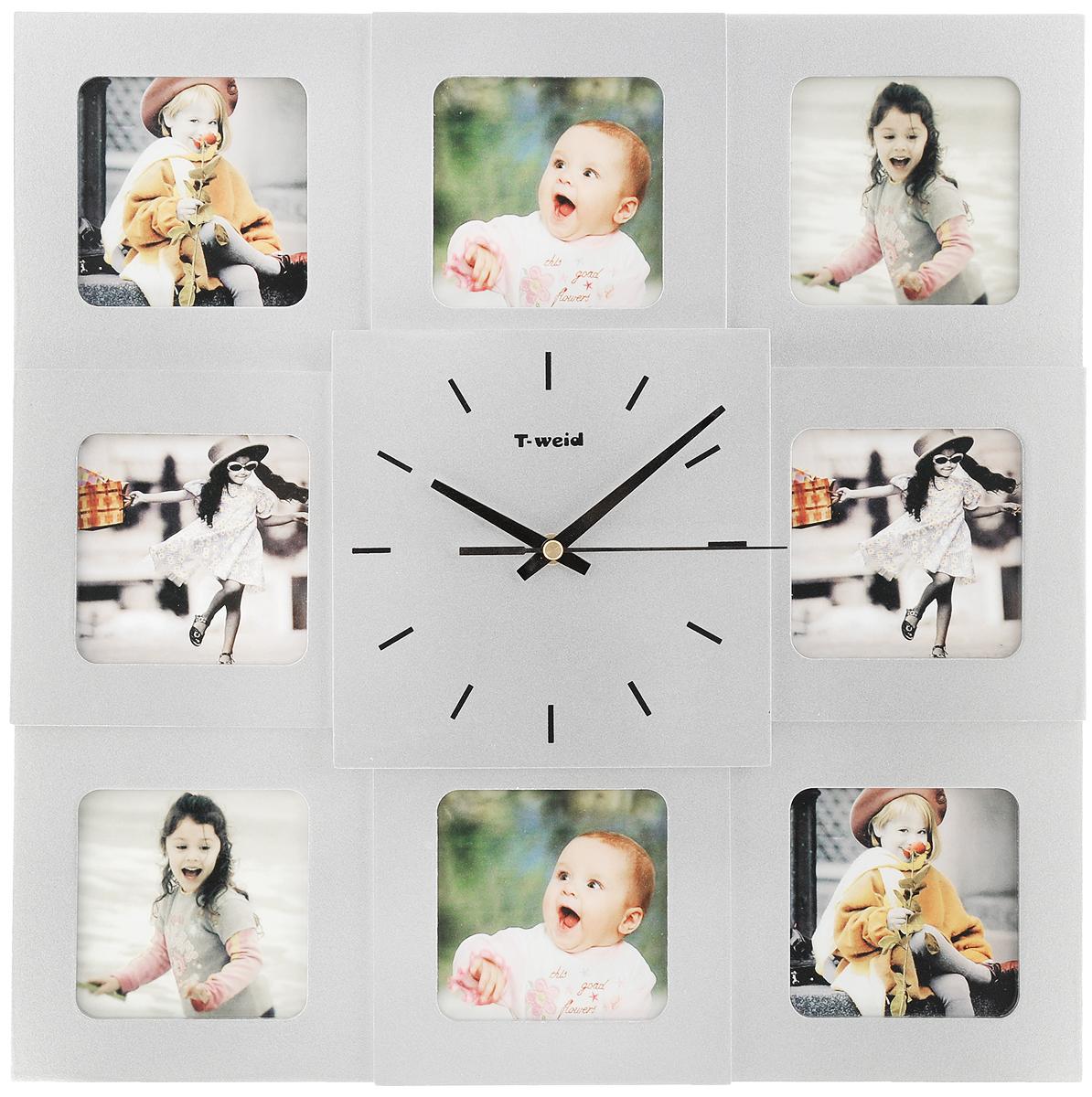 Часы настенные HomeMaster, с 8 фоторамками, цвет: серебристый54 009303Настенные часы HomeMaster кварцевые с фоторамками - это прекрасный предмет декора, а также универсальный подарок практически по любому поводу. Корпус часов, выполнен из дерева с серебристым матовым покрытием и оформлен восемью фоторамками.Циферблат часов оснащен тремя стрелками: часовой, минутной и секундной. Метки нанесены черной краской на серебристом фоне. На задней стенке часов расположена металлическая петелька для подвешивания и блок с часовым механизмом. Часы с фоторамками прекрасно впишутся в любой интерьер. В зависимости оттого, что вы поместите в рамки, будет меняться и стиль часов. Тип механизма: плавающий, бесшумный. Рекомендуется докупить батарейку типа АА (не входит в комплект). Размер изделия: 40 х 40 х 5 см.Размер фоторамок: 8,5 х 8,5 см.