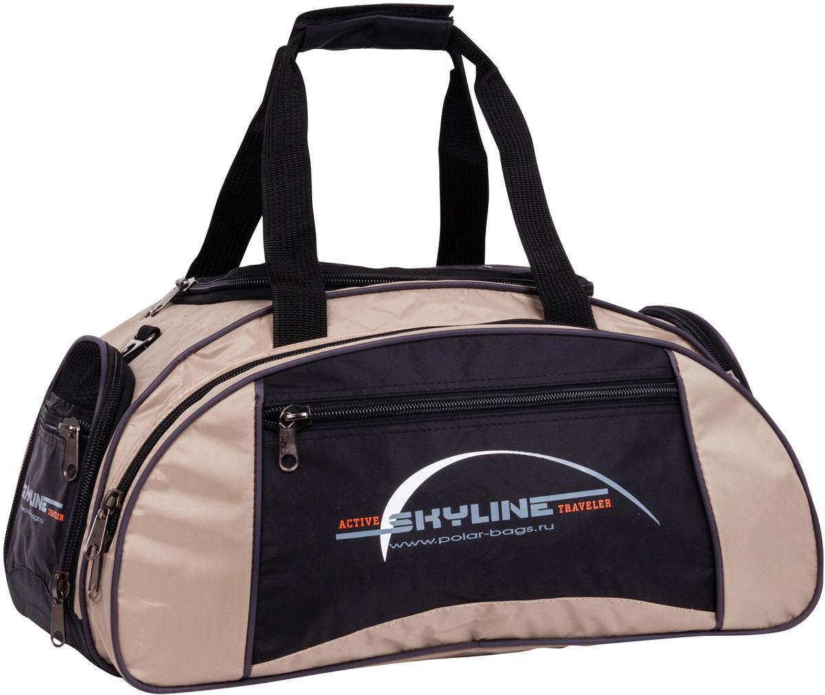Сумка спортивная Polar Скайлайн, цвет: черный, бежевый, 36 л, 50 х 24 х 30 см. 6063Костюм Охотник-Штурм: куртка, брюкиСпортивная сумка для ваших вещей. Большое отделение под вещи, плюс три кармана снаружи сумки, позволит вместить в сумку самые необходимые вещи. Карман сбоку под обувь. Имеется плечевой ремень.