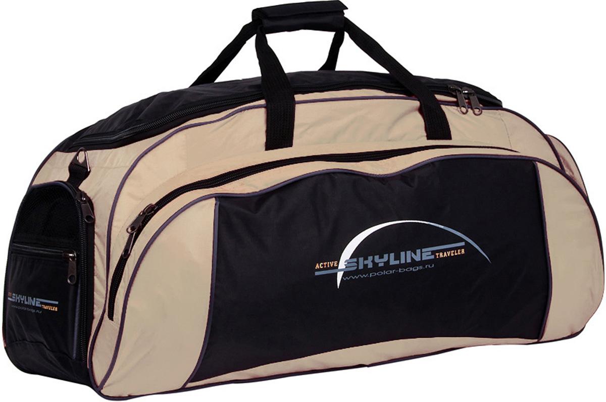 Сумка спортивная Polar Скайлайн, цвет: черный, бежевый, 73,5 л, 75 х 35 х 28 см. 60646064Спортивная сумка для ваших вещей. Большое отделение для основных вещей, а так же 3 больших кармана, что делает сумку незаменимой при занятии спортом или дальних поездках.