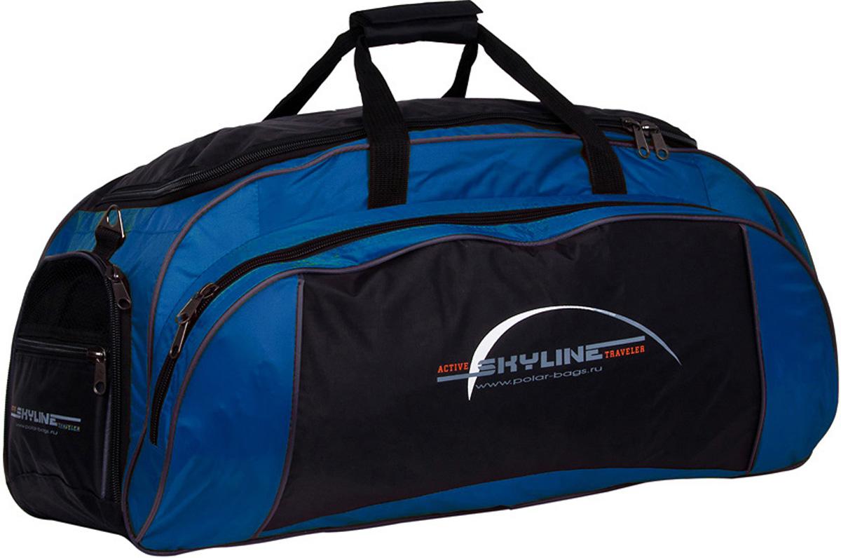 Сумка спортивная Polar Скайлайн, цвет: черный, синий, 73,5 л, 75 х 35 х 28 см. 60646064Спортивная сумка для ваших вещей. Большое отделение для основных вещей, а так же 3 больших кармана, что делает сумку незаменимой при занятии спортом или дальних поездках.