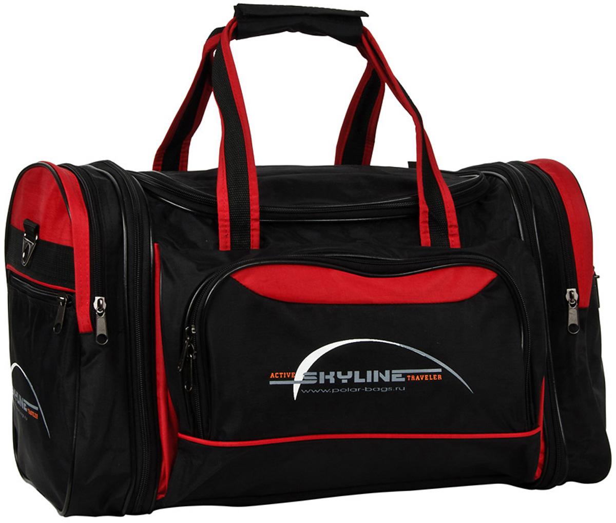 Сумка спортивная Polar Сириус, раздвижная, цвет: черный, красный, 38 л, 47 х 31 х 26 см. 60676067Материал – полиэстер с водоотталкивающей пропиткой. Вместительная спортивная сумка среднего размера. Одно отделение. Два боковых кармана и карман на передней части. В комплект входит съемный плечевой ремень. Расширение по бокам сумки на +5 см. Эта сумка идеально подойдет для спорта и отдыха. Спортивная сумка для ваших вещей.