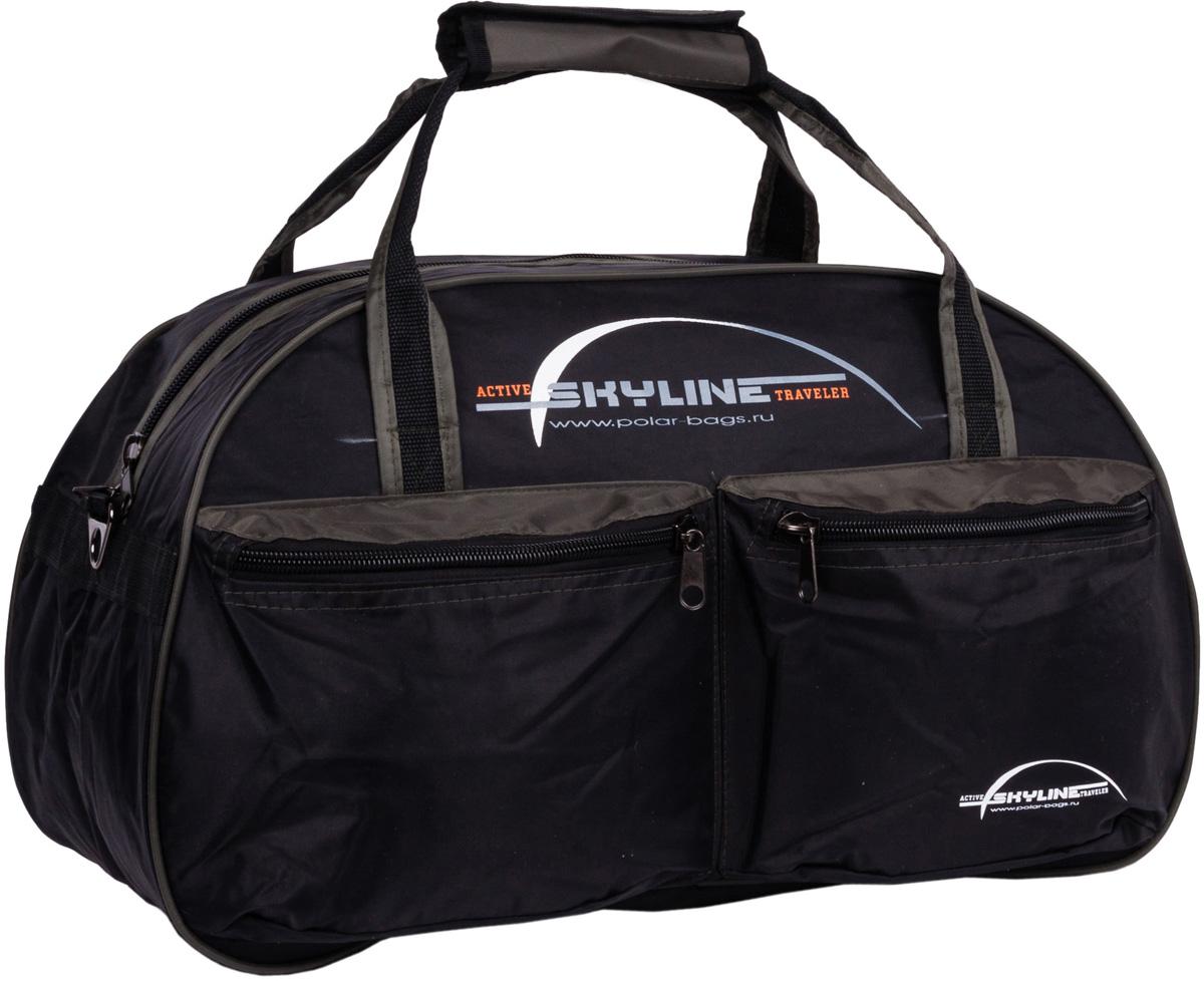 Сумка дорожная Polar Скайлайн, цвет: черный, хаки, 53 л, 54 x 34 x 29 см. П05П05Материал - нейлон с водоотталкивающий пропиткой. Большое отделение для вещей, плюс два кармана спереди сумки. В комплект входит ремешок, для переноски сумки на плече.