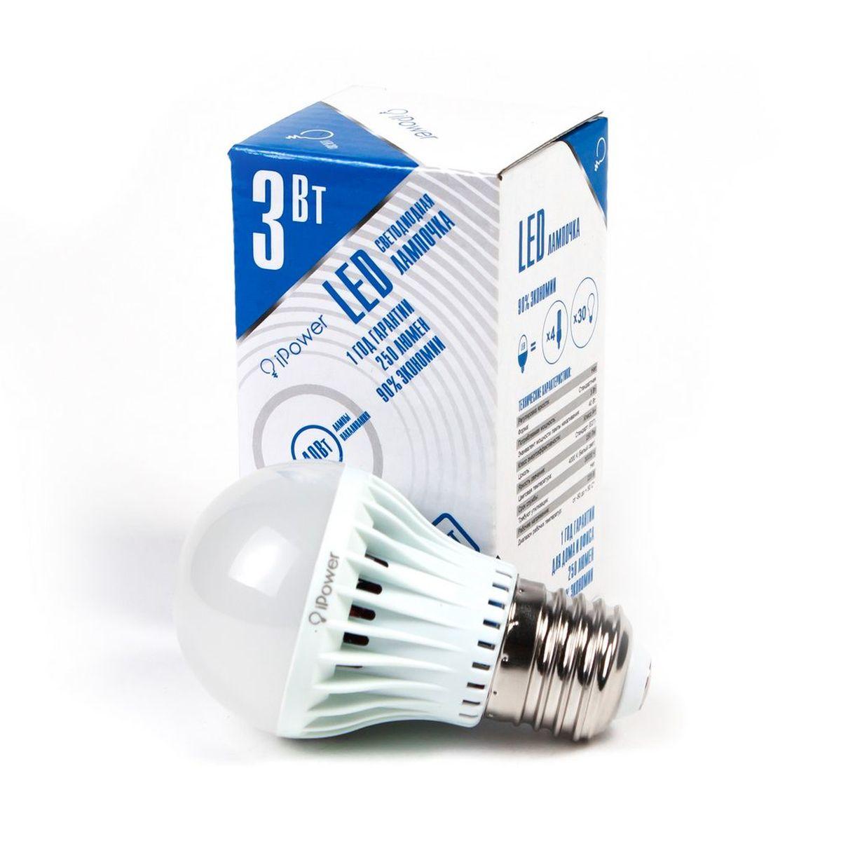 Лампа светодиодная iPower, цоколь Е27, 3W, 4000К1001947Светодиодная лампа iPower имеет очень низкое энергопотребление. В сравнении с лампами накаливания LED потребляет в 12 раз меньше электричества, а в сравнении с энергосберегающими - в 2-4 раза меньше. При этом срок службы LED лампочки в 5 раз выше, чем энергосберегающей, и в 50 раз выше, чем у лампы накаливания. Светодиодная лампа iPower создает мягкий рассеивающий свет без мерцаний, что совершенно безопасно для глаз. Она специально разработана по требованиям российских и европейских законов и подходит ко всем осветительным устройствам, совместимым со стандартным цоколем E27. Использование светодиодов от мирового лидера Epistar - это залог надежной и стабильной работы лампы. Нейтральный белый оттенок свечения идеально подойдёт для освещения, как офисов, образовательных и медицинских учреждений, так и кухни, гостиной. Диапазон рабочих температур: от -50°C до +50°С. Материал: поликарбонат. Потребляемая мощность: 3 Вт. Рабочее напряжение: В 220В. ...