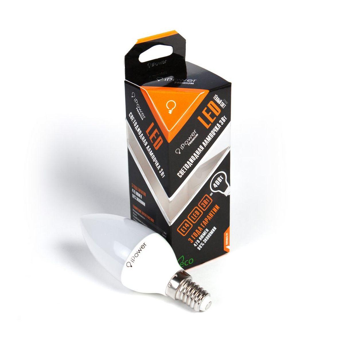 Лампа светодиодная iPower Premium, цоколь Е14, 3W, 2700КC0044108Светодиодная лампа iPower Premium имеет очень низкое энергопотребление. В сравнении с лампами накаливания LED потребляет в 12 разменьше электричества, а в сравнении с энергосберегающими - в 2-4 раза меньше. При этом срок службы LED лампочки в 5 раз выше, чемэнергосберегающей, и в 50 раз выше, чем у лампы накаливания. Светодиодная лампа iPower Premium создает мягкий рассеивающий свет безмерцаний, что совершенно безопасно для глаз. Она специально разработана по требованиям российских и европейских законов и подходит ковсем осветительным устройствам, совместимым со стандартным цоколем E27. Использование светодиодов от мирового лидера Epistar - этозалог надежной и стабильной работы лампы. Теплый оттенок света лампы по световой температуре соответствует обычной лампе накаливания ипозволит создать уют в доме и местах отдыха.Диапазон рабочих температур от -50°С до +50 °СМатериал: алюминий, поликарбонат.Потребляемая мощность: 3 Вт.Рабочее напряжение: 220В.Световая температура: 2700К (теплый свет).Срок службы: 50000 часов.Форма: свеча.Цоколь: миньон (E14).Эквивалент мощности лампы накаливания: 40 Вт.Яркость свечения: 250 Лм.
