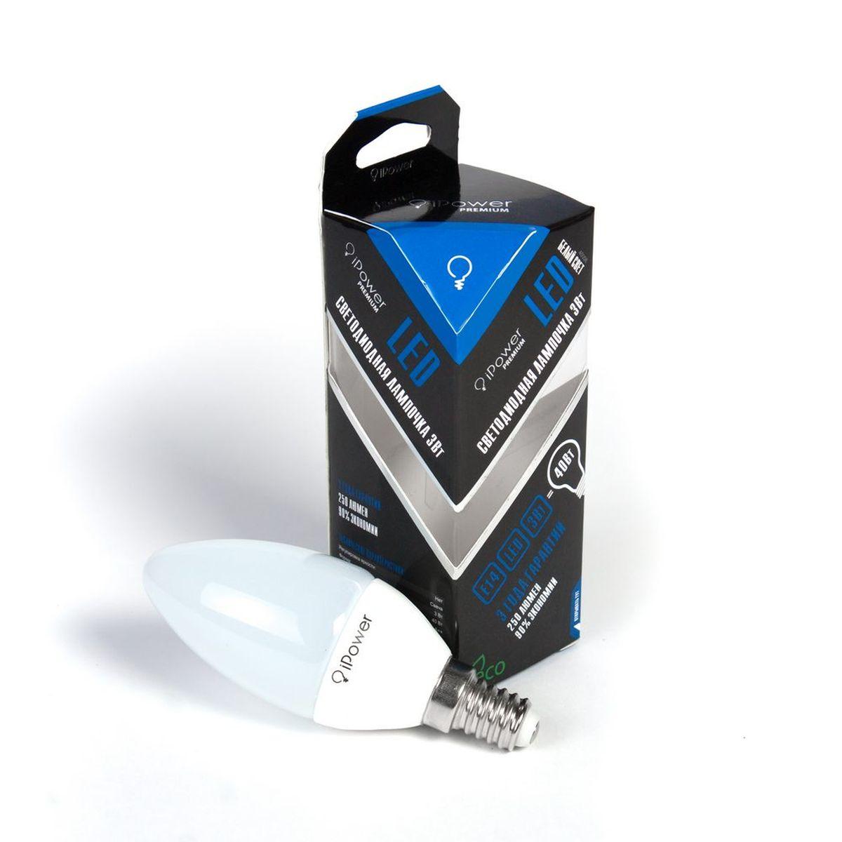 Лампа светодиодная iPower Premium, цоколь Е14, 3W, 4000КC0042415Светодиодная лампа iPower Premium имеет очень низкое энергопотребление. В сравнении с лампами накаливания LED потребляет в 12 разменьше электричества, а в сравнении с энергосберегающими - в 2-4 раза меньше. При этом срок службы LED лампочки в 5 раз выше, чемэнергосберегающей, и в 50 раз выше, чем у лампы накаливания. Светодиодная лампа iPower Premium создает мягкий рассеивающий свет безмерцаний, что совершенно безопасно для глаз. Она специально разработана по требованиям российских и европейских законов и подходит ковсем осветительным устройствам, совместимым со стандартным цоколем E27. Использование светодиодов от мирового лидера Epistar - этозалог надежной и стабильной работы лампы. Нейтральный белый оттенок свечения идеально подойдет для освещения, как офисов,образовательных и медицинских учреждений, так и кухни, гостиной.Диапазон рабочих температур: от -50°C до +50°С.Материал: алюминий, поликарбонат.Потребляемая мощность: 3 Вт.Рабочее напряжение: 220В.Световая температура: 4000К (белый свет).Срок службы: 50000 часов.Форма: свеча.Цоколь: миньон (E14).Эквивалент мощности лампы накаливания: 40 Вт.Яркость свечения: 250 Лм.