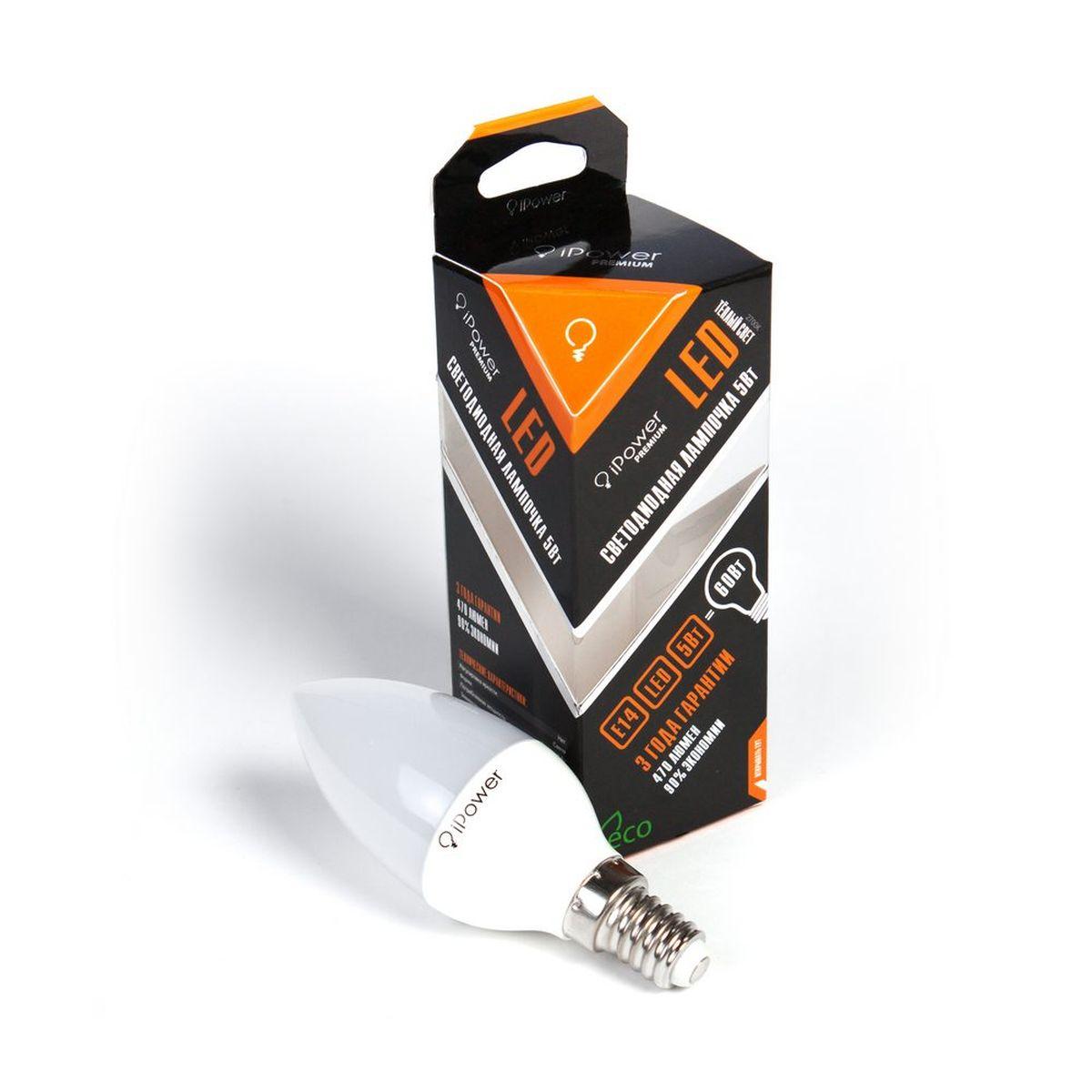 Лампа светодиодная iPower Premium, цоколь Е14, 5W, 2700К1001958Светодиодная лампа iPower Premium имеет очень низкое энергопотребление. В сравнении с лампами накаливания LED потребляет в 12 раз меньше электричества, а в сравнении с энергосберегающими - в 2-4 раза меньше. При этом срок службы LED лампочки в 5 раз выше, чем энергосберегающей, и в 50 раз выше, чем у лампы накаливания. Светодиодная лампа iPower Premium создает мягкий рассеивающий свет без мерцаний, что совершенно безопасно для глаз. Она специально разработана по требованиям российских и европейских законов и подходит ко всем осветительным устройствам, совместимым со стандартным цоколем E27. Использование светодиодов от мирового лидера Epistar - это залог надежной и стабильной работы лампы. Теплый оттенок света лампы по световой температуре соответствует обычной лампе накаливания и позволит создать уют в доме и местах отдыха. Диапазон рабочих температур от -50°С до +50 °С Материал: алюминий, поликарбонат. Потребляемая мощность: 5 Вт. Рабочее...