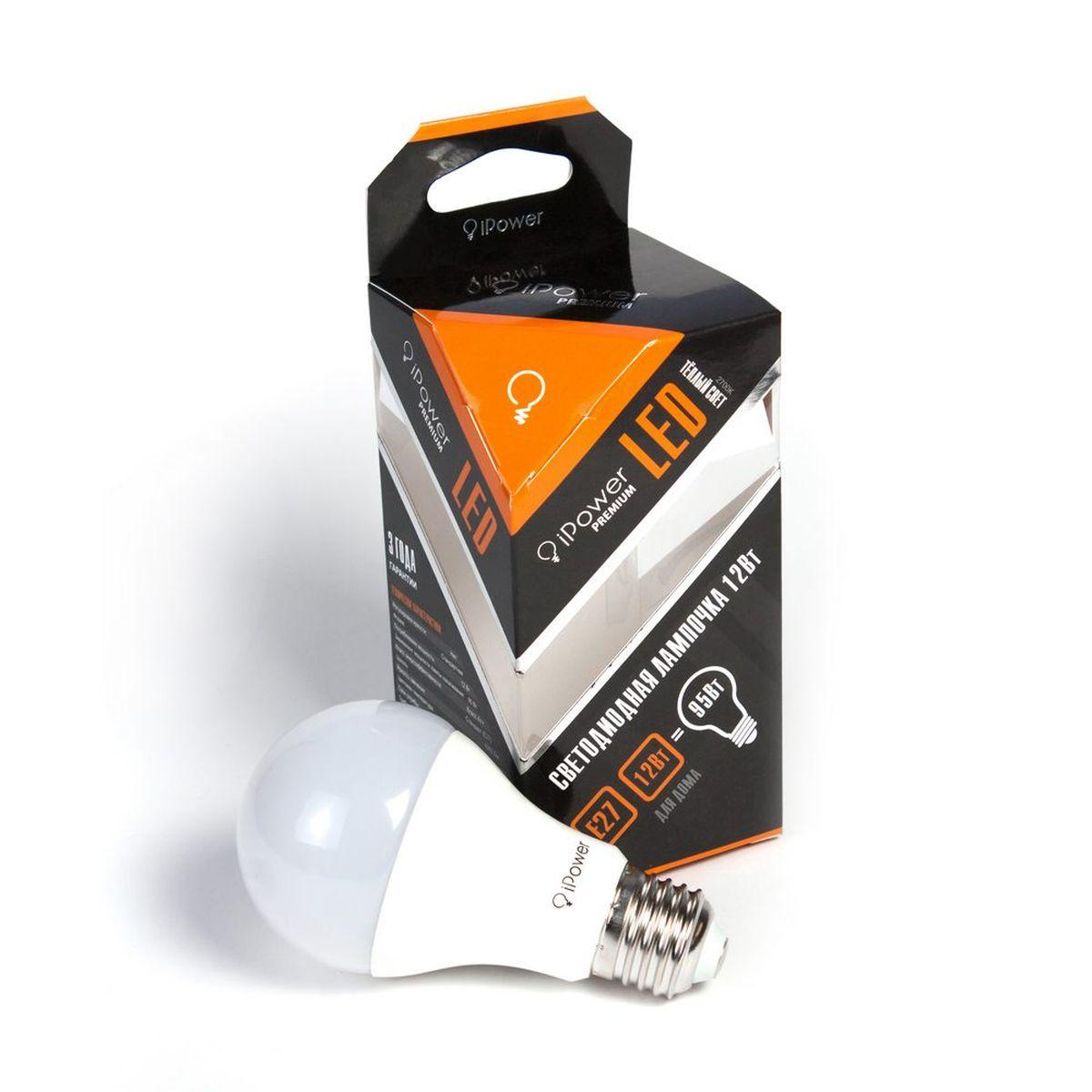 Лампа светодиодная iPower Premium, цоколь Е27, 12W, 2700К1001966Светодиодная лампа iPower Premium имеет очень низкое энергопотребление. В сравнении с лампами накаливания LED потребляет в 12 раз меньше электричества, а в сравнении с энергосберегающими - в 2-4 раза меньше. При этом срок службы LED лампочки в 5 раз выше, чем энергосберегающей, и в 50 раз выше, чем у лампы накаливания. Светодиодная лампа iPower Premium создает мягкий рассеивающий свет без мерцаний, что совершенно безопасно для глаз. Она специально разработана по требованиям российских и европейских законов и подходит ко всем осветительным устройствам, совместимым со стандартным цоколем E27. Использование светодиодов от мирового лидера Epistar - это залог надежной и стабильной работы лампы. Теплый оттенок света лампы по световой температуре соответствует обычной лампе накаливания и позволит создать уют в доме и местах отдыха. Диапазон рабочих температур от -50°С до +50 °С Материал: алюминий, поликарбонат. Потребляемая мощность: 12 Вт. Рабочее...