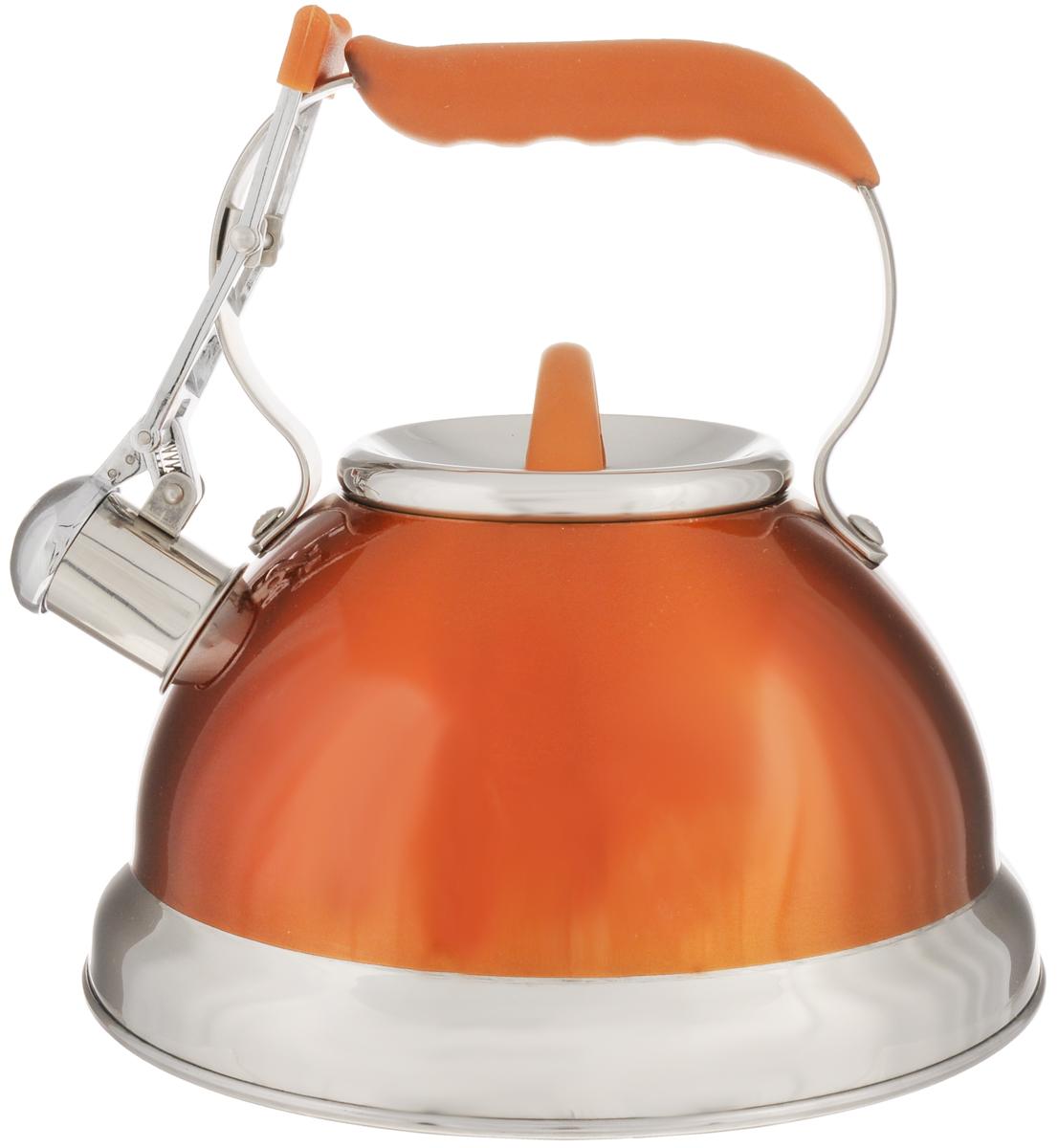 Чайник Calve, со свистком, цвет: оранжевый, 2,7 лCL-1461_оранжевыйЧайник Calve изготовлен из высококачественной нержавеющей стали 18/10, внешние стенки имеют цветное глянцевое покрытие. Нержавеющая сталь обладает высокой устойчивостью к коррозии, не вступает в реакцию с холодными и горячими продуктами и полностью сохраняет их вкусовые качества. Особая конструкция капсулированного дна способствует высокой теплопроводности и равномерному распределению тепла. Чайник оснащен удобной фиксированной ручкой с силиконовым покрытием. Носик чайника имеет откидной свисток с перфорацией в виде смайлика, звуковой сигнал которого подскажет, когда закипит вода. Свисток открывается с помощью рычага на ручке чайника. Чайник подходит для всех типов плит, включая индукционные. Можно мыть в посудомоечной машине. Диаметр чайника (по верхнему краю): 10 см. Высота чайника (без учета ручки и крышки): 11,5 см. Высота чайника (с учетом ручки): 22 см.