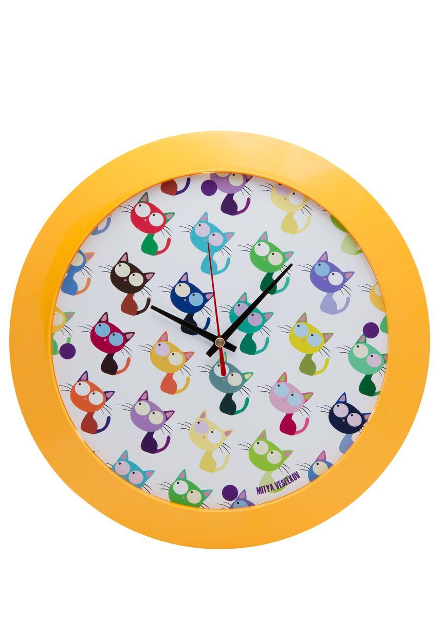 Часы настенные Mitya Veselkov Много кошек, цвет: желтый. MVC.NAST-001MVC.NAST-001Настенные часы Mitya Veselkov Много кошек из серии MVC станут отличным украшением вашего дома, офиса или детской комнаты. Часы имеют три стрелки - часовую, минутную и секундную. Часы изготовлены из качественного легкого пластика. Циферблат часов также закрыт пластиком. В случае падения часов со стены, данный материал гораздо безопаснее увесистых стекла и стали. На задней панели часы снабжены удобным отверстием для подвески на стену. Диаметр часов: 30 см. В часах установлен кварцевый механизм.