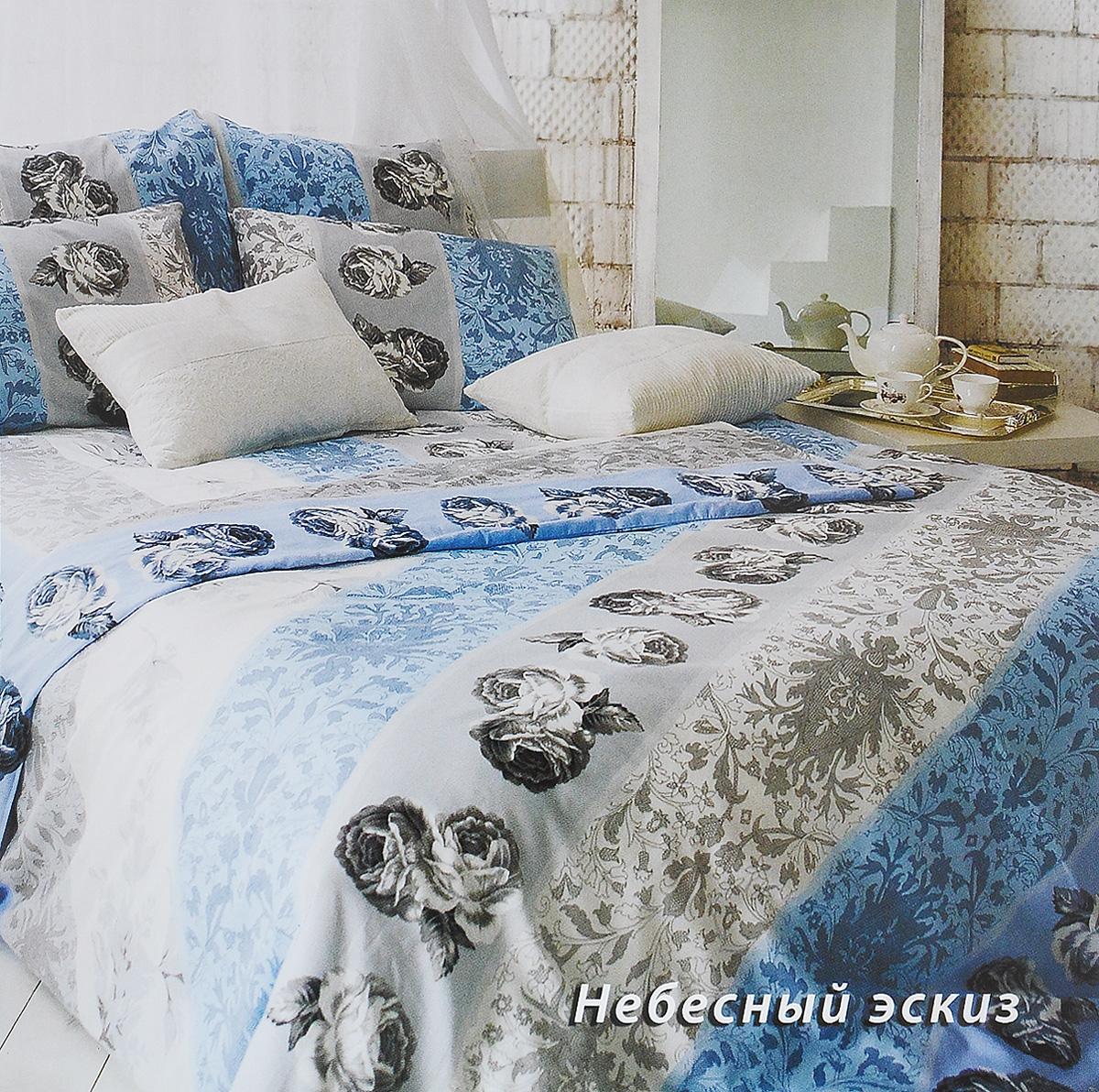 Комплект белья Tiffanys Secret Небесный эскиз, евро, наволочки 70х70, цвет: голубой, белый, серый2040815189Комплект постельного белья Tiffanys Secret Небесный эскиз является экологически безопасным для всей семьи, так как выполнен из сатина (100% хлопок). Комплект состоит из пододеяльника, простыни и двух наволочек. Предметы комплекта оформлены оригинальным рисунком. Благодаря такому комплекту постельного белья вы сможете создать атмосферу уюта и комфорта в вашей спальне. Сатин - это ткань, навсегда покорившая сердца человечества. Ценившие роскошь персы называли ее атлас, а искушенные в прекрасном французы - сатин. Секрет высококачественного сатина в безупречности всего технологического процесса. Эту благородную ткань делают только из отборной натуральной пряжи, которую получают из самого лучшего тонковолокнистого хлопка. Благодаря использованию самой тонкой хлопковой нити получается необычайно мягкое и нежное полотно. Сатиновое постельное белье превращает жаркие летние ночи в прохладные и освежающие, а холодные зимние - в теплые и согревающие. ...