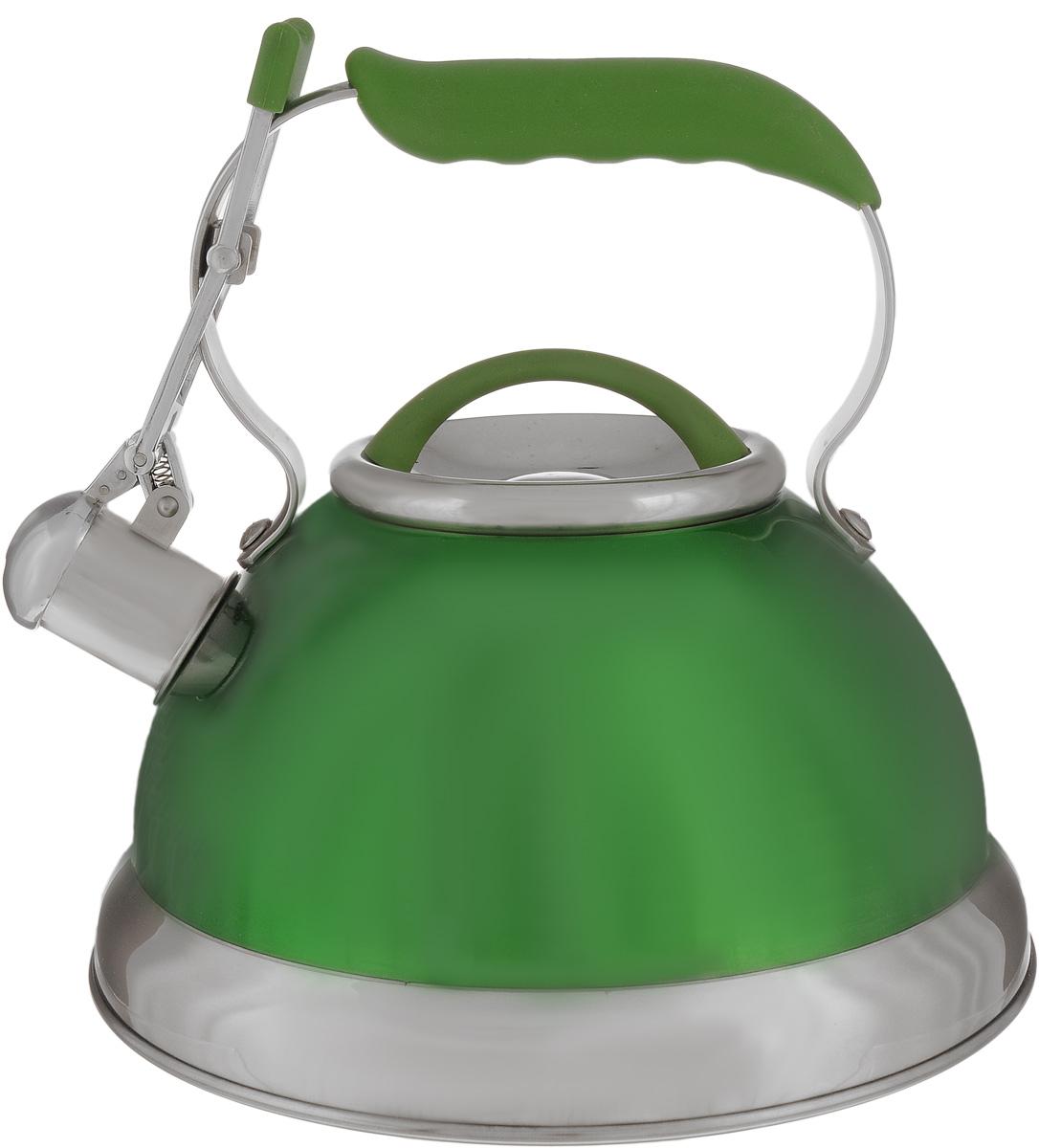 Чайник Calve, со свистком, цвет: зеленый, 2,7 лCL-1461_зеленыйЧайник Calve изготовлен из высококачественной нержавеющей стали 18/10, внешние стенки имеют цветное глянцевое покрытие. Нержавеющая сталь обладает высокой устойчивостью к коррозии, не вступает в реакцию с холодными и горячими продуктами и полностью сохраняет их вкусовые качества. Особая конструкция капсулированного дна способствует высокой теплопроводности и равномерному распределению тепла. Чайник оснащен удобной фиксированной ручкой с силиконовым покрытием. Носик чайника имеет откидной свисток с перфорацией в виде смайлика, звуковой сигнал которого подскажет, когда закипит вода. Свисток открывается с помощью рычага на ручке чайника. Чайник подходит для всех типов плит, включая индукционные. Можно мыть в посудомоечной машине. Диаметр чайника (по верхнему краю): 10 см. Высота чайника (без учета ручки и крышки): 13 см. Высота чайника (с учетом ручки): 23 см.
