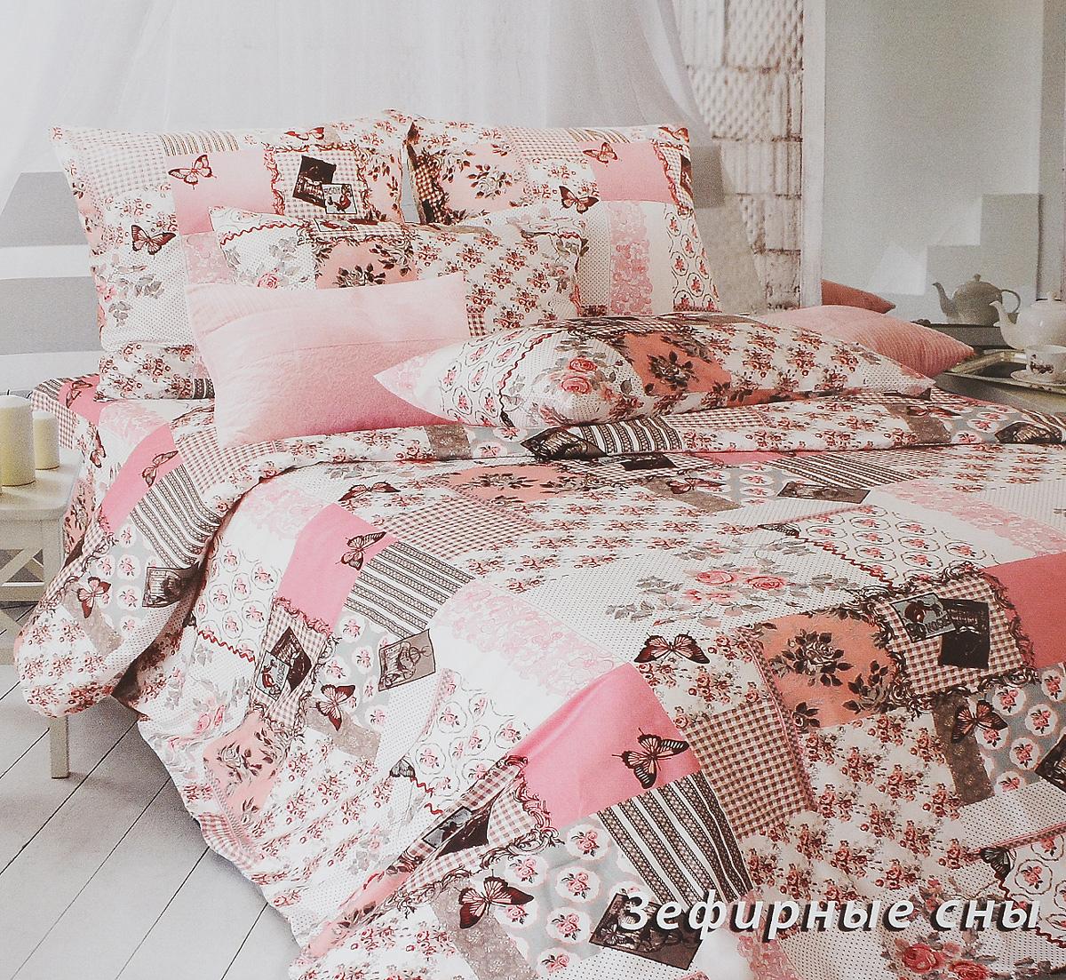 Комплект белья Tiffanys Secret Зефирные сны, семейный, наволочки 50х70, цвет: розовый, белый, темно-коричневый2040816150Комплект постельного белья Tiffanys Secret Зефирные сны является экологически безопасным для всей семьи, так как выполнен из сатина (100% хлопок). Комплект состоит из двух пододеяльников, простыни и двух наволочек. Предметы комплекта оформлены оригинальным рисунком. Благодаря такому комплекту постельного белья вы сможете создать атмосферу уюта и комфорта в вашей спальне. Сатин - это ткань, навсегда покорившая сердца человечества. Ценившие роскошь персы называли ее атлас, а искушенные в прекрасном французы - сатин. Секрет высококачественного сатина в безупречности всего технологического процесса. Эту благородную ткань делают только из отборной натуральной пряжи, которую получают из самого лучшего тонковолокнистого хлопка. Благодаря использованию самой тонкой хлопковой нити получается необычайно мягкое и нежное полотно. Сатиновое постельное белье превращает жаркие летние ночи в прохладные и освежающие, а холодные зимние - в теплые и...