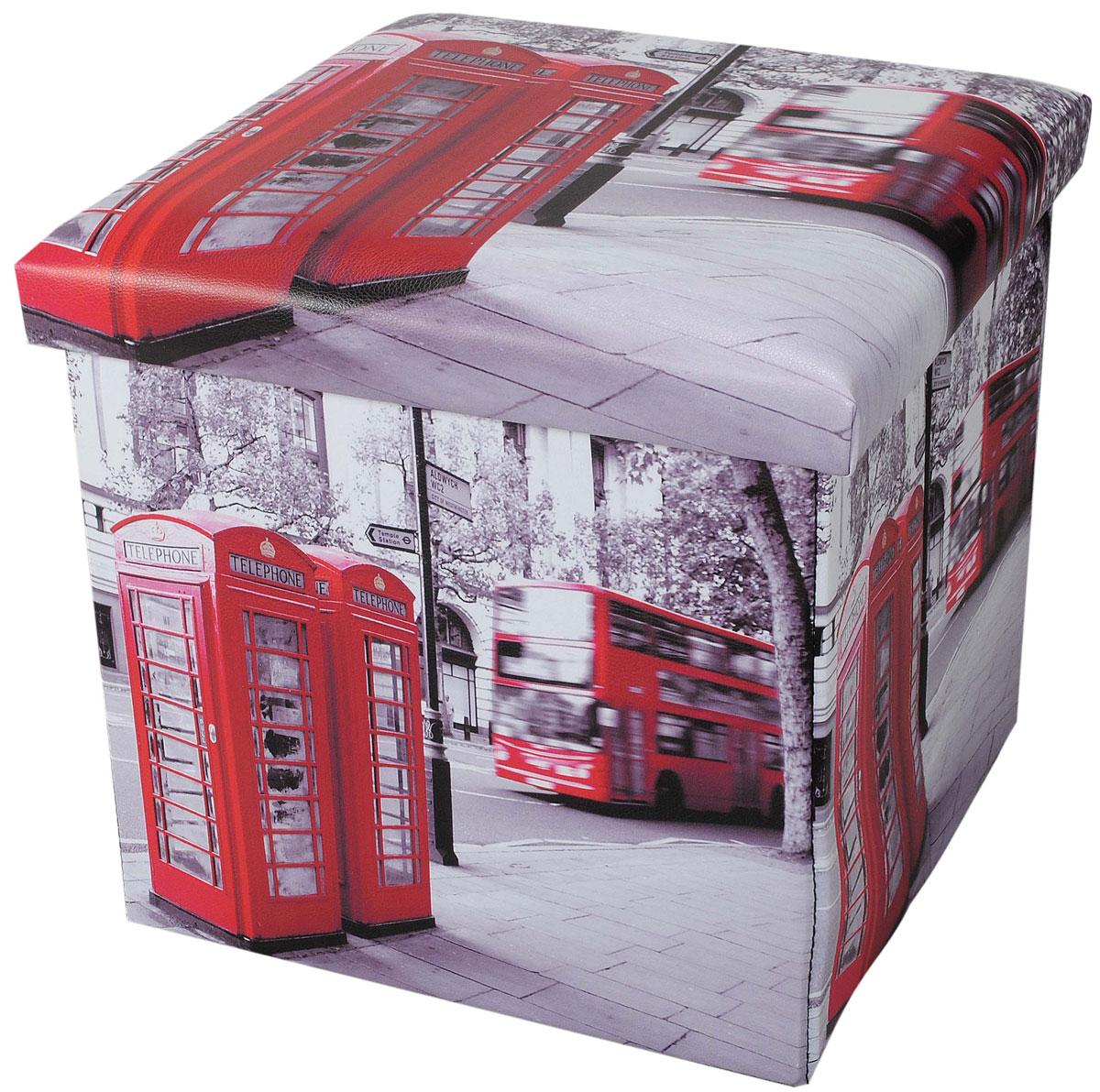Пуф-короб для хранения HomeMaster Лондон, 38 х 38 х 38 смOT00458Очаровательный пуф-короб для хранения HomeMaster Лондон - удобный, компактный и стильный предмет интерьера. Изделие отличает актуальный дизайн и многофункциональность. На пуфе комфортно сидеть - он выдерживает вес до 90 кг. Верхняя часть пуфа представляет собой съемную мягкую крышку. Внутри можно хранить небольшие предметы домашнего обихода. Пуф-короб складной, благодаря чему его удобно хранить и перевозить. Такой пуф-короб займет достойное место в вашей гостиной или прихожей, а яркий рисунок с нотками лондонских мотивов впишется практически в любой интерьер.