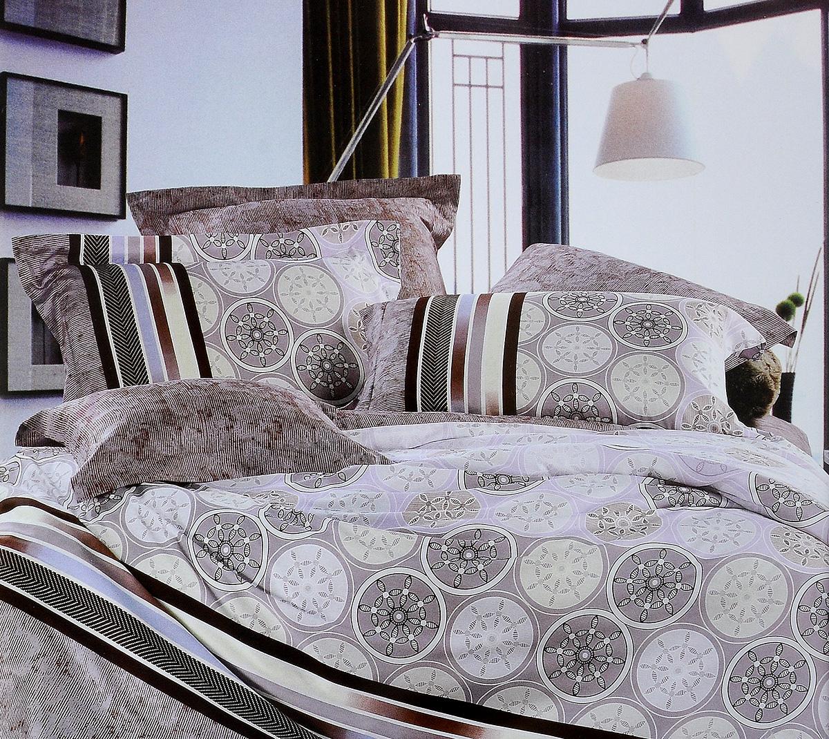 Комплект белья Tiffanys Secret Монако, евро, наволочки 70х70, цвет: кофейный204111212Комплект белья Tiffanys Secret Монако, выполненный из сатина (100% хлопка), состоит из пододеяльника, простыни и двух наволочек. Сатин производится из высших сортов хлопка, а своим блеском, легкостью и на ощупь напоминает шелк. Такая ткань рассчитана на 200 стирок и более. Постельное белье из сатина превращает жаркие летние ночи в прохладные и освежающие, а холодные зимние - в теплые и согревающие. Благодаря натуральному хлопку, комплект постельного белья из сатина приобретает способность пропускать воздух, давая возможность телу дышать. Одно из преимуществ материала в том, что он практически не мнется и ваша спальня всегда будет аккуратной и нарядной.. Приобретая комплект постельного белья Tiffanys Secret Монако, вы можете быть уверенны в том, что покупка доставит вам и вашим близким удовольствие и подарит максимальный комфорт.