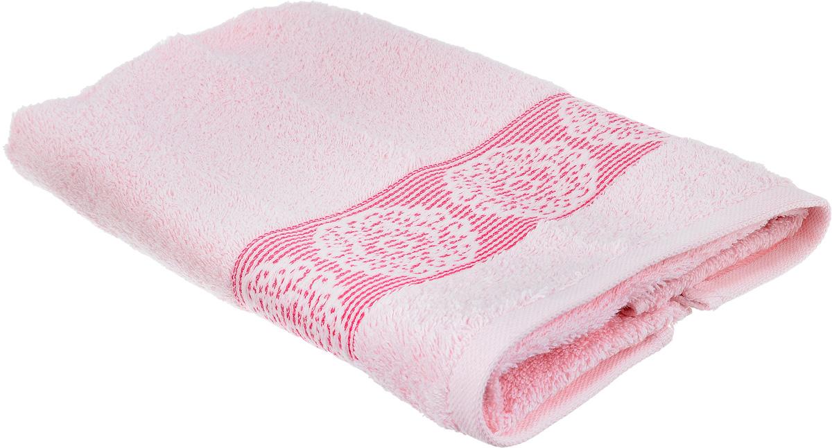 Полотенце Arya Mia, цвет: розовый, 50 х 90 см10503Полотенце Arya Mia выполнено из 100% хлопка. Полотенце украшено рисунком на бордюре, которое придает ему неповторимый вид. Изделие отлично впитывает влагу, быстро сохнет, сохраняет яркость цвета и не теряет форму даже после многократных стирок. Такое полотенце очень практично и неприхотливо в уходе. Оно создаст прекрасное настроение и украсит интерьер в ванной комнате.