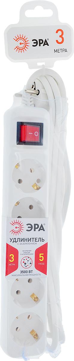 Удлинитель ЭРА U-5es-3m, с заземлением, с выключателем, 5 гнезд, 3 мU-5es-3mУдлинитель ЭРА U-5es-3m предназначен для удобного подключения к сети электроснабжения бытовой и компьютерной техники, позволяет подключить несколько потребителей к одной электрической розетке. Удлинитель снабжен выключателем, который выключает все приборы, подключенные к удлинителю, при этом не нужно вынимать вилки из розетки. Материал корпуса - негорючий полипропилен с антипиренами, устойчив к механическим повреждениям, соответствует требованиям пожаробезопасности. 3 медные жилы сечением 1 мм2 обеспечивают допустимую максимальную мощность нагрузки в 3500 Вт. Напряжение номинальное: 220В / 50 Гц. Напряжение максимальное: 250В. Сечение провода: 3 х 1 мм2.
