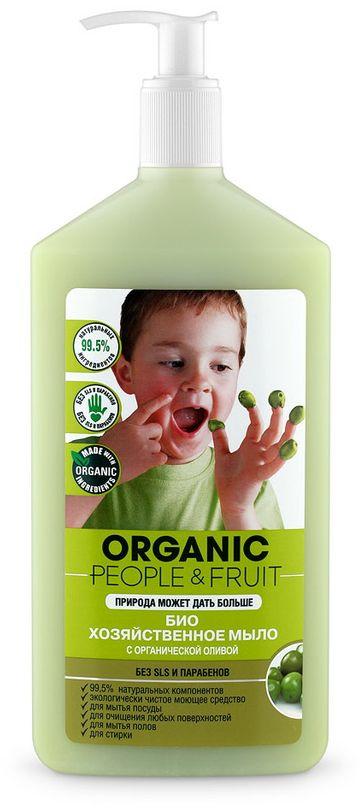 """Мыло-БИО хозяйственное """"Organic People & Fruit"""", с органической оливой, 500 мл 071-42-6009"""