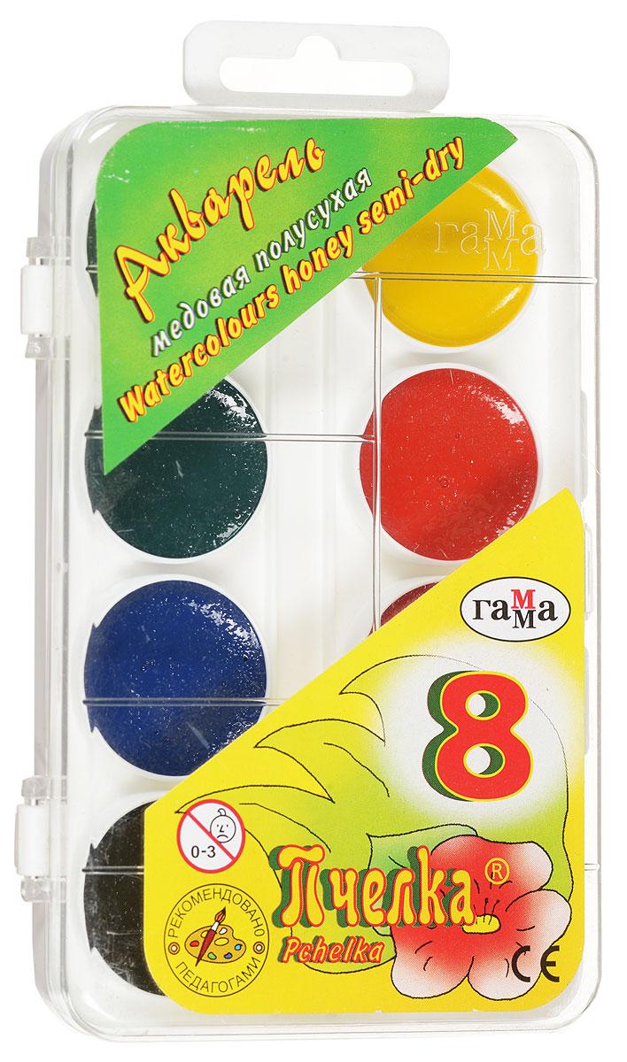 Гамма Акварель медовая Пчелка 8 цветов212068Акварель медовая Гамма Пчелка идеально подойдет для детского художественного творчества, изобразительных и оформительских работ. Краски хорошо размываются водой, легко наносятся на поверхность, быстро сохнут. Время, проведенное за рисованием, становится плюсом в копилку детских знаний, а также позволяет сформировать красивый почерк и правильную речь за счет тренировки мелкой моторики рук. В набор входят краски 8 ярких насыщенных цветов.