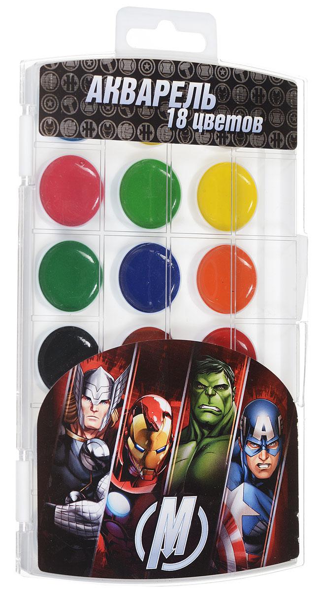 Marvel Акварель Мстители 18 цветов25443Акварель Marvel Мстители включает в себя восемнадцать насыщенных цветов. Удобный пластиковый пенал четко фиксирует краску в специальных нишах, также в нем находится специальное отделение для хранения кисточки. Акварельные краски идеально подойдут для детского художественного творчества, изобразительных и оформительских работ. Краски легко размываются, создавая прозрачный цветной слой, легко смешиваются между собой, не крошатся и не смазываются, быстро сохнут. В процессе рисования у детей развиваются наглядно-образное мышление, воображение, мелкая моторика рук, творческие и художественные способности, вырабатываются усидчивость и аккуратность.
