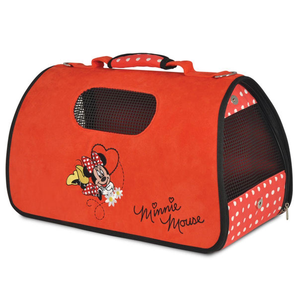 Сумка-переноска Triol Disney Minnie, 50 х 28 х 29 см0120710Складная, удобная в использовании сумка-переноска из мягкого велюра с изображением известного персонажа DISNEY Minnie. Сумка отлично держит форму. Открывается при помощи молнии с двух сторон. Пластиковые ножки на дне сумки позволяют ставить ее на любую поверхность, не пачкая дно. Вентиляционные окна прорезинены, располагаются сбоку и сверху, обеспечивают достаточное количество воздуха для питомца. Один из боков сумки можно сделать открытым для головы Вашего питомца. При этом в целях безопасности используйте поводок-фиксатор (идет в комплекте с сумкой). К сумке также прилагается ремень с тканевым бегунком, чтобы носить её на плече. Сумка поставляется в полипропиленовом пакете на молнии с веревочными ручками, что очень удобно для хранения.