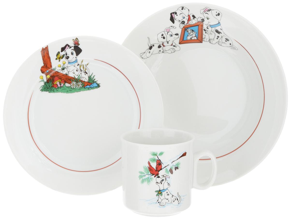 Набор посуды Идиллия. Далматинцы, 3 предмета4С0496Набор посуды Идиллия. Далматинцы состоит из кружки, десертной и суповой тарелок. Изделия выполнены из высококачественного фарфора, украшенного красочным рисунком. Набор посуды Идиллия. Далматинцы прекрасно подойдет для вашего ребенка. В нем есть вся необходимая посуда для завтраков, обедов и ужинов. Красивый дизайн порадует малыша и превратит прием пищи в веселое занятие. Объем суповой тарелки: 360 мл. Диаметр суповой тарелки (по верхнему краю): 14,5 см. Высота суповой тарелки: 5 см. Диаметр десертной тарелки (по верхнему краю): 16,5 см. Высота десертной тарелки: 2 см. Объем кружки: 200 мл. Диаметр кружки (по верхнему краю): 7,2 см. Высота кружки: 7,5 см.