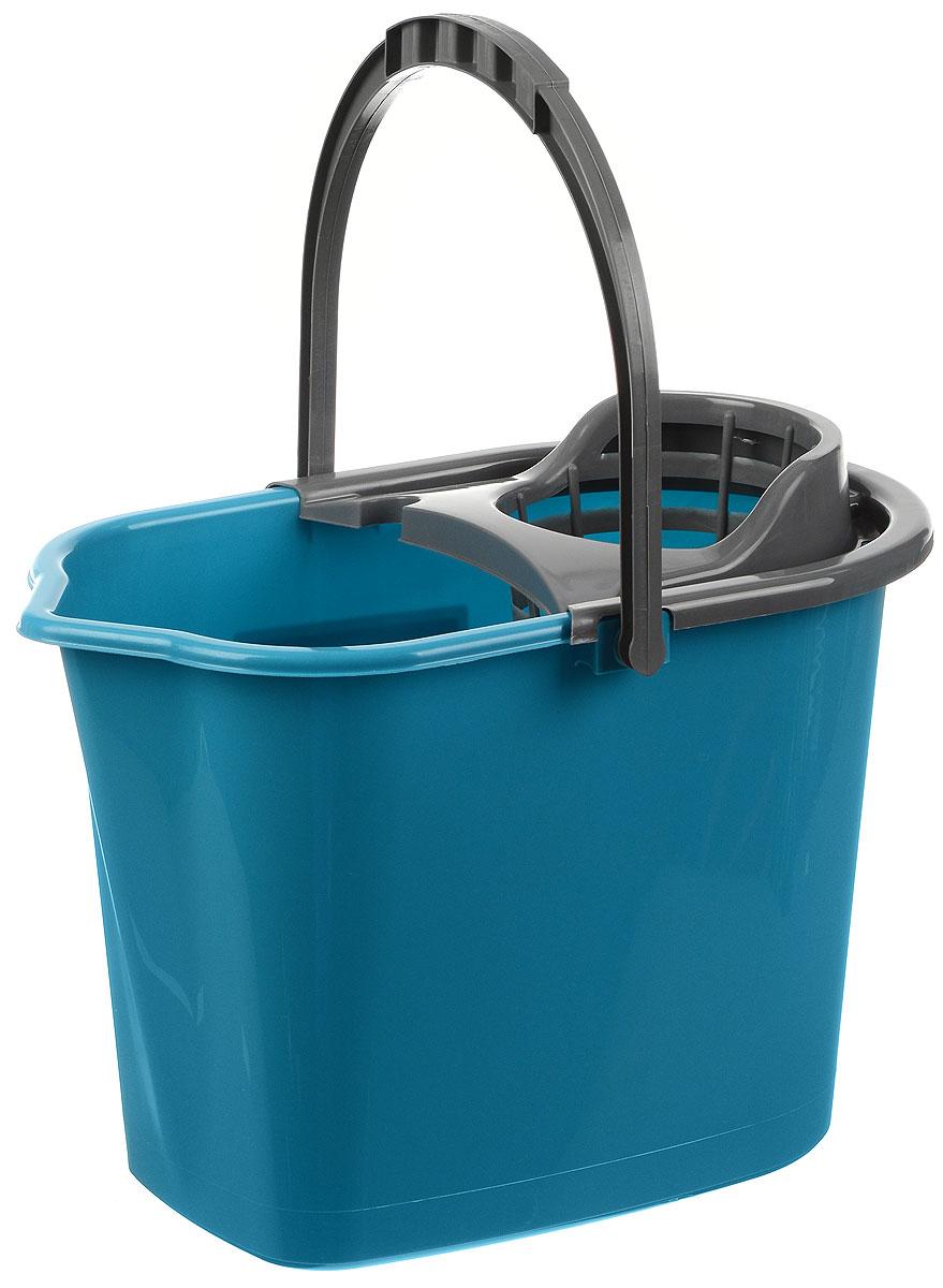 Ведро для уборки York, с насадкой для отжима швабры, цвет: бирюзовый, серый, 10 л790009Ведро York, изготовленное из полипропилена, порадует практичных хозяек. Изделие снабжено специальной насадкой, которая обеспечивает интенсивный отжим ленточных швабр. Это значительно уменьшает физические нагрузки при мытье полов. Насадка надежно крепится на ведро и также легко снимается, позволяя хранить ее отдельно. Для удобного использования ведро оснащено эргономичной ручкой.Размер ведра (по верхнему краю): 35 х 22 см.Высота: 24 см.