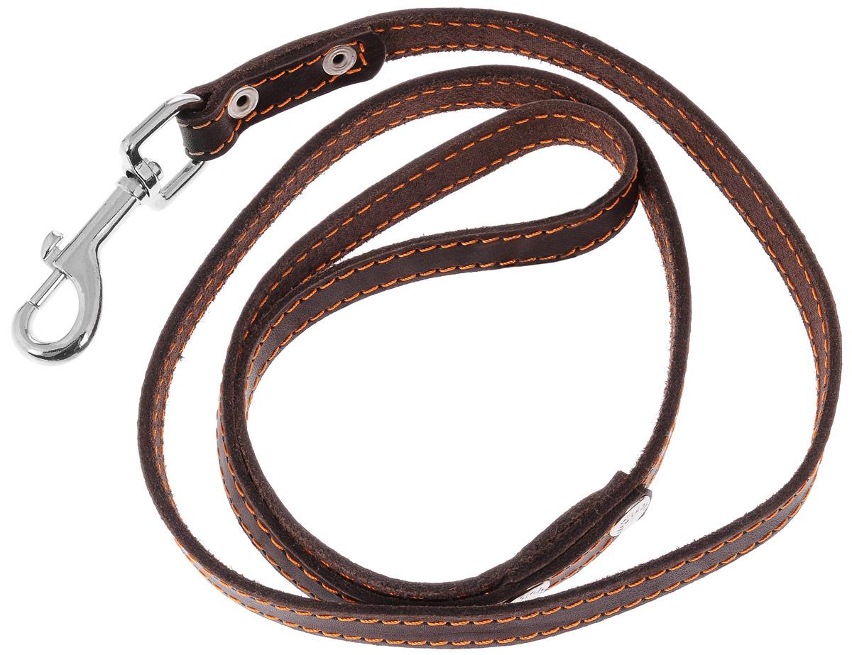 Поводок для собак Каскад Классика, цвет: темно-коричневый, ширина 1,5 см, длина 120 см02015011кПоводок для собак Каскад Классика изготовлен из натуральной кожи и снабжен металлическим карабином. Изделие отличается не только исключительной надежностью и удобством, но и привлекательным дизайном. Он идеально подойдет для активных собак, для прогулок на природе и охоты. Поводок - необходимый аксессуар для собаки. Ведь в опасных ситуациях именно он способен спасти жизнь вашему любимому питомцу. Длина поводка: 120 см. Ширина поводка: 1,5 см.
