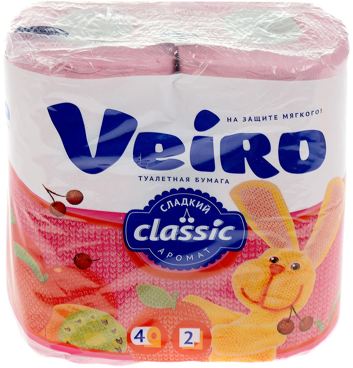 Бумага туалетная Veiro Classic, двухслойная, цвет: розовый, 4 рулона5C24р_розовыйТуалетная бумага Veiro Classic, выполненная из натуральной целлюлозы, обеспечивает превосходный комфорт и ощущение чистоты и свежести. Необыкновенно мягкая, но в тоже время прочная, бумага не расслаивается и отрывается строго по линии перфорации, не вызывает аллергии и раздражения. Двухслойные листы имеют рисунок с перфорацией. Количество слоев: 2. Количество листов: 140 шт. Размер листа: 12,5 х 9,5 см. Длина намотки: 17,5 м. Состав: 100% целлюлоза.