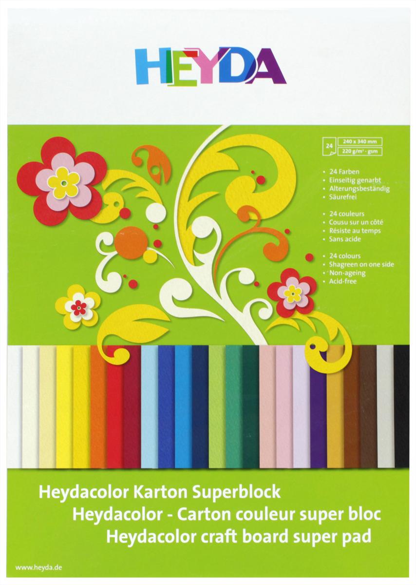 Heyda Цветной картон 24 листа51718-09\BCD-HeydaНабор цветного картона Heyda позволит создавать всевозможные аппликации и поделки. Набор включает 24 листа одностороннего цветного картона размера 24 см х 34 см. Создание поделок из цветного картона позволяет ребенку развивать творческие способности, кроме того, это увлекательный досуг.
