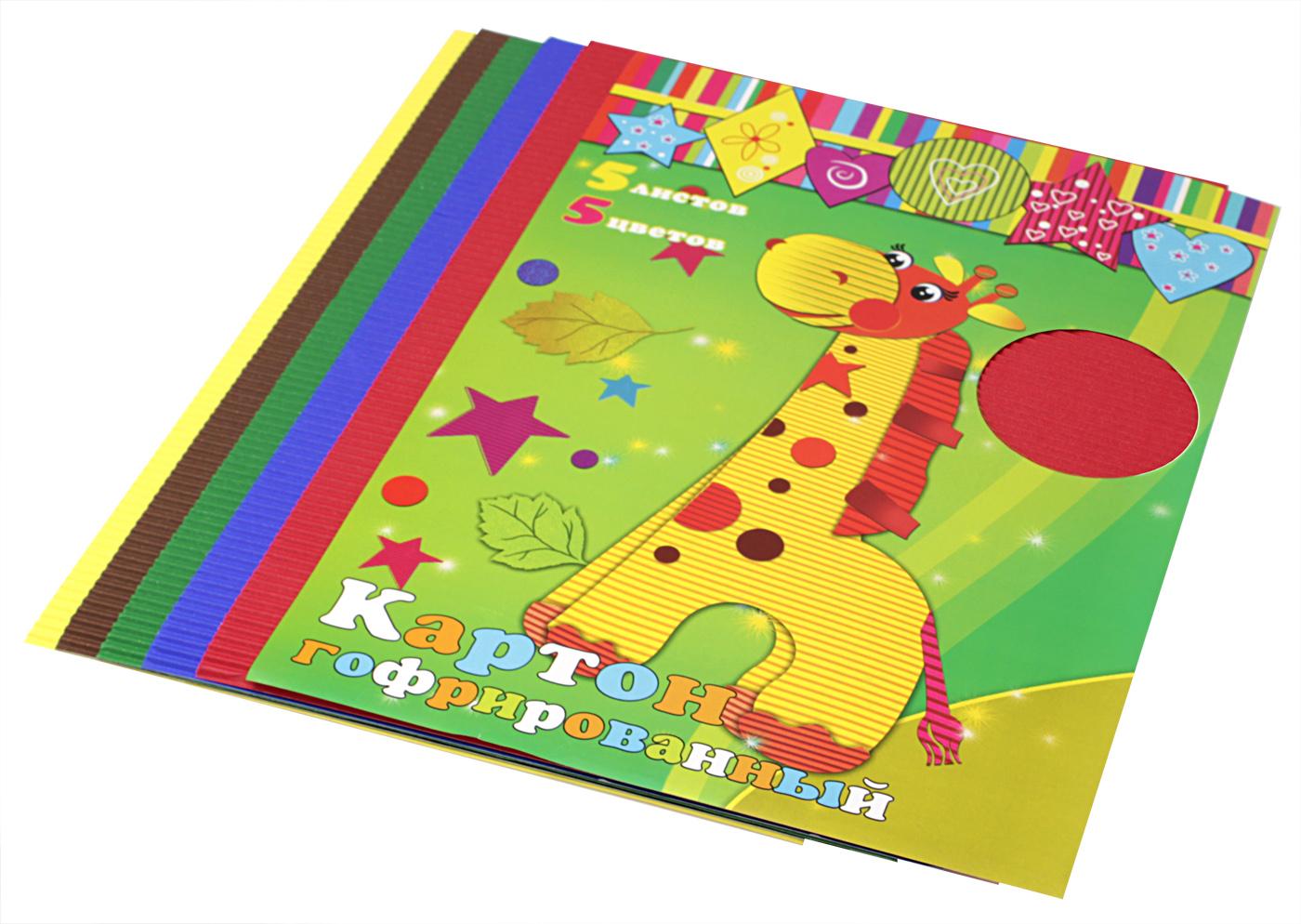 Феникс+ Гофрированный цветной картон 5 листов7712875Набор гофрированного цветного картона Феникс+ позволит создавать всевозможные аппликации и поделки. Набор включает 5 листов гофрированного двухстороннего картона формата А4. Цвета в наборе: малиновый, оранжевый, желтый, зеленый, синий.Гофрированный картон может использоваться для упаковки, поделок, декорирования и других видов творчества. Толщина картона: 1 мм.