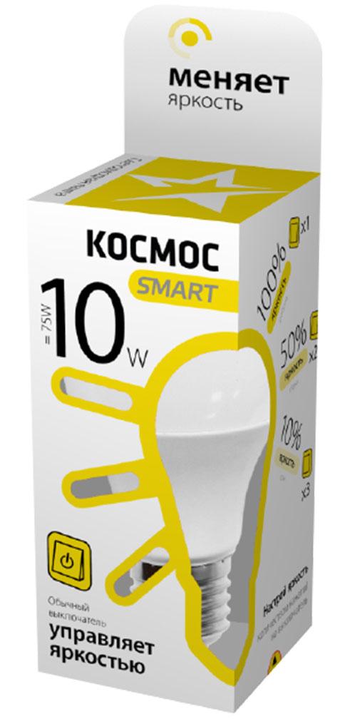Лампа светодиодная Космос Smart, 3 уровня яркости, регулируется выключателем, стандарт А60, 220V, теплый свет, цоколь Е27, 10WLksmLEDSD10wA60E2730Тип: Умная лампа Серия: КОСМОС SMART Технология: светодиодная LED Назначение лампы: общего назначения с регулировкой яркости Вид/форма : стандарт ( А60 ) / грушевидная Модель: LksmLEDSD10wA60E2730 Эквивалентная мощность лампы накаливания, Вт: 75 Тип цоколя: Е27 (стандарт) Свет: теплый / Температура света, К: 3000 Мощность, Вт: 10 / Световой поток, Лм: 850 Угол рассеивания, град.: 270 Светодиоды: LED SMD 2835 / Чип: Epistar Рабочий ток, А: 0,085 / Номинальное напряжение, Вт.: 220 - 240 Номинальная частота, Гц: 50/60 Индекс цветопередачи: Ra>80 Температура использования от -40° до +50° Срок службы, час.: до 30 000 / Гарантия: 1 год Специальные возможности/особенности: Умная лампа КОСМОС SMART - уникальная светодиодная технология в освещении от КОСМОС. Лампа имеет 3 уровня яркости: 100%, 50% и 10% и интенсивность освещения меняется обычным выключателем без использования светорегулятора или диммера,...
