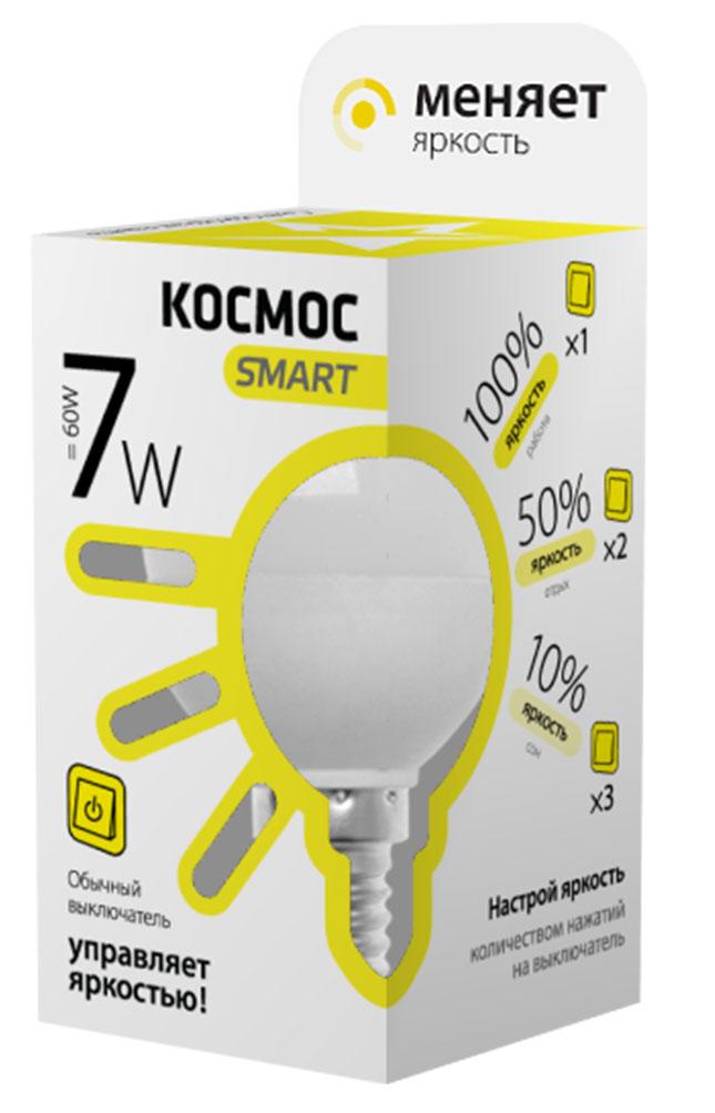 Лампа светодиодная Космос Smart, 3 уровня яркости, регулируется выключателем, шар, 220V, теплый свет, цоколь Е14, 7WLksmLEDSD7wGL45E1430Тип: Умная лампа Серия: КОСМОС SMART Технология: светодиодная LED Назначение лампы: общего назначения с регулировкой яркости Вид/форма : шар ( GL45 /G ) / шарообразная Модель: LksmLEDSD7wGL45E1430 Эквивалентная мощность лампы накаливания, Вт : 60 Тип цоколя: Е14 (миньон) Свет: теплый Температура света, К: 3000 Мощность, Вт: 7 Световой поток, Лм: 560 Угол рассеивания, град.: 270 Светодиоды: LED SMD 2835 Чип: Epistar Рабочий ток, А: 0,05 Номинальное напряжение, Вт.: 220 - 240 Номинальная частота, Гц: 50/60 Индекс цветопередачи: Ra>80 Температура использования от -40° до +50° Срок службы, час.: до 30 000 Гарантия: 1 год Специальные возможности/особенности: Умная лампа КОСМОС SMART - уникальная светодиодная технология в освещении от КОСМОС. Лампа имеет 3 уровня яркости: 100%, 50% и 10% и интенсивность освещения меняется обычным выключателем без использования светорегулятора или диммера, позволяя создавать выбранную атмосферу комфортного освещения просто включив и выключив свет. Для...