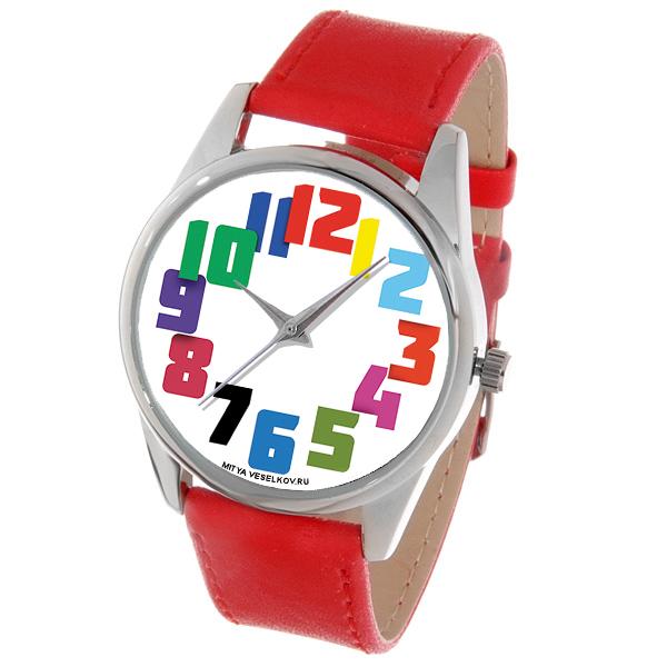 Часы наручные Mitya Veselkov Цветные числа, цвет: красный. Color-129BM8434-58AEСтильные кварцевые часы Mitya Veselkov выполнены из металлического сплава и минерального стекла. В изделии установлен надежный японский механизм Citizen. Крышка корпуса изготовлена из прочной стали. Ремешок на часах сделан из натуральной кожи, а на корпус нанесено PVD покрытие. Оформлен циферблат оригинальными яркими цифрами.Часы упакованы в оригинальный фирменный стаканчик Mitya Veselkov.