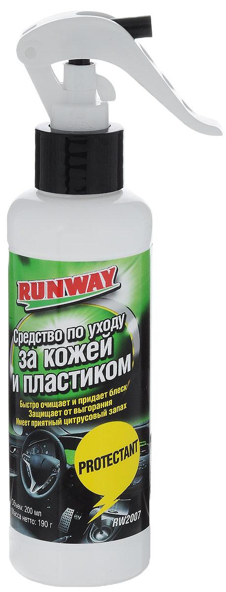 Средство для ухода за кожей и пластиком Runway, 200 млRW2007Благодаря своей уникальной формуле, средство Runway быстро очищает и придает блеск изделиям из кожи, пластика, винила и резины. Защищает изделия от выгорания, помутнения, высыхания и растрескивания. Обладает хорошими антистатическими свойствами. Имеет приятный цитрусовый запах. Товар сертифицирован.