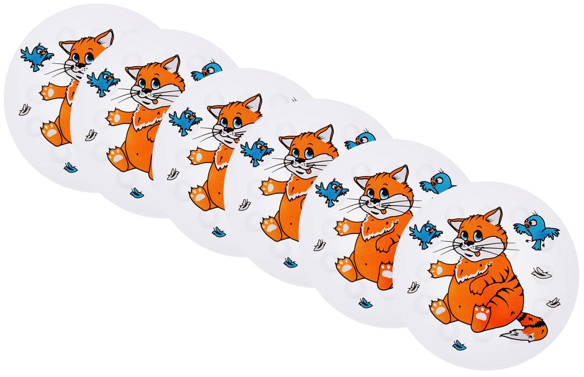 Valiant Мини-коврик для ванной комнаты Котик на присосках 6 шт68/5/3Мини-коврик для ванной комнаты Valiant Котик - это модный и экономичный способ сделать вашу ванную комнату более уютной, красивой и безопасной.В наборе представлены 6 круглых мини-ковриков с изображением милого котика с птичками. Коврики прочно крепятся на любую гладкую поверхность с помощью присосок. Расположите коврик там, где вам необходимо яркое цветовое пятно и надежная противоскользящая опора - на поверхности ванной, на кафельной стене или стенке душевой кабины, на полу - как дополнение вашего коврика стандартного размера.Мини-коврики Valiant незаменимы при купании маленького ребенка: он не поскользнется и не упадет, держась за мягкую и приятную на ощупь рифленую поверхность коврика.Рекомендации по уходу: после использования тщательно смойте остатки мыла или других косметических средств с коврика.