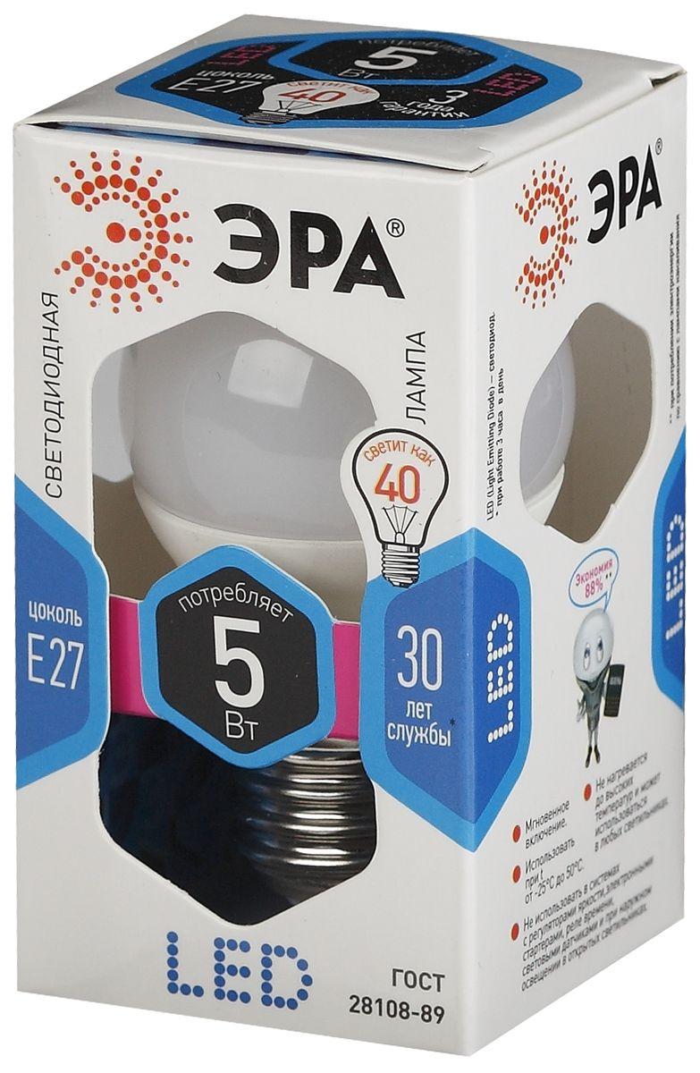 Лампа светодиодная ЭРА, цоколь E27, 170-265V, 5W, 4000К5055945518214Светодиодная лампа ЭРА является самым перспективным источником света. Основным преимуществом данного источника света является длительный срок службы и очень низкое энергопотребление, так, например, по сравнению с обычной лампой накаливания светодиодная лампа служит в среднем в 50 раз дольше и потребляет в 10-15 раз меньше электроэнергии. При этом светодиодная лампа практически не подвержена механическому воздействию из-за прочной конструкции и позволяет получить любой цвет светового потока, что, несомненно, расширяет возможности применения и позволяет создавать новые решения в области освещения.