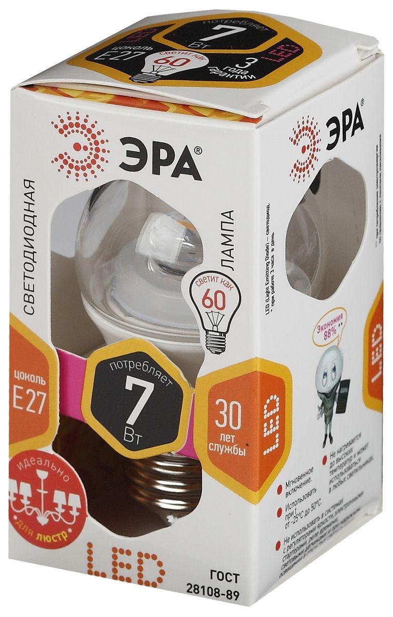 Лампа светодиодная ЭРА, цоколь E27, 170-265V, 7W, 2700КC0042418Светодиодная лампа ЭРА является самым перспективным источником света. Основным преимуществом данного источника света является длительный срок службы и очень низкое энергопотребление, так, например, по сравнению с обычной лампой накаливания светодиодная лампа служит в среднем в 50 раз дольше и потребляет в 10-15 раз меньше электроэнергии. При этом светодиодная лампа практически не подвержена механическому воздействию из-за прочной конструкции и позволяет получить любой цвет светового потока, что, несомненно, расширяет возможности применения и позволяет создавать новые решения в области освещения.Особенности серии Clear:Лампы предназначены для хрустальных люстр.Угол рассеивания светового потока 270 градусовСветовая отдача - 90-100 лм/ВтСрок службы - 30000 часовГарантия - 2 годаСовместимы с выключателями с подсветкой.