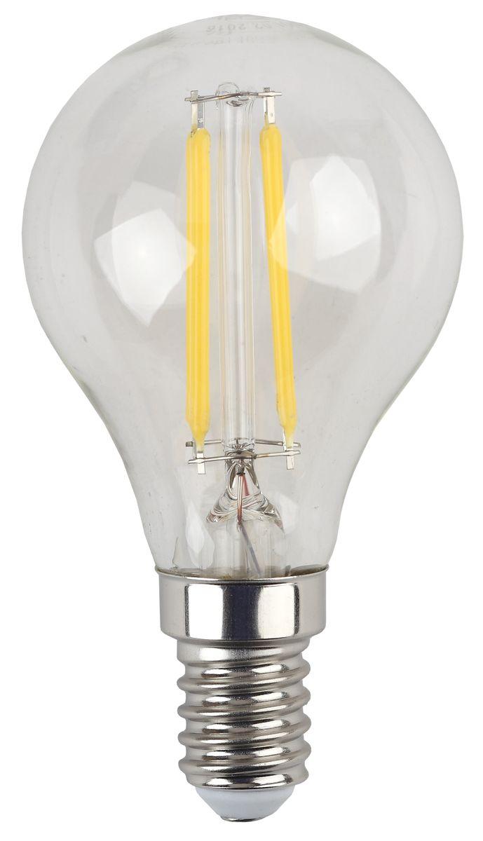 Лампа светодиодная ЭРА F-LED, цоколь E14, 170-265V, 5W, 2700К5055945528930Светодиодная лампа ЭРА F-LED является самым перспективным источником света. Основным преимуществом данного источника света является длительный срок службы и очень низкое энергопотребление, так, например, по сравнению с обычной лампой накаливания светодиодная лампа служит в среднем в 50 раз дольше и потребляет в 10-15 раз меньше электроэнергии. При этом светодиодная лампа практически не подвержена механическому воздействию из-за прочной конструкции и позволяет получить любой цвет светового потока, что, несомненно, расширяет возможности применения и позволяет создавать новые решения в области освещения. Максимально похожа на лампу накаливания, может использоваться в дизайнерских интерьерах. Угол рассеивания светового потока 360 градусов.