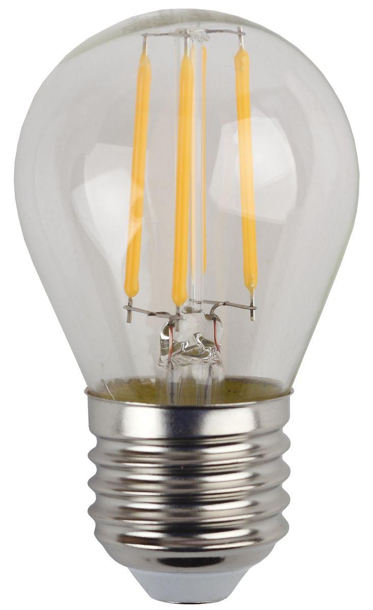 Лампа светодиодная ЭРА F-LED, цоколь E27, 170-265V, 5W, 2700К. Р45-5w-827-E275055945528954Светодиодная лампа ЭРА F-LED является самым перспективным источником света. Основным преимуществом данного источника света является длительный срок службы и очень низкое энергопотребление, так, например, по сравнению с обычной лампой накаливания светодиодная лампа служит в среднем в 50 раз дольше и потребляет в 10-15 раз меньше электроэнергии. При этом светодиодная лампа практически не подвержена механическому воздействию из-за прочной конструкции и позволяет получить любой цвет светового потока, что, несомненно, расширяет возможности применения и позволяет создавать новые решения в области освещения. Максимально похожа на лампу накаливания, может использоваться в дизайнерских интерьерах. Угол рассеивания светового потока 360 градусов.