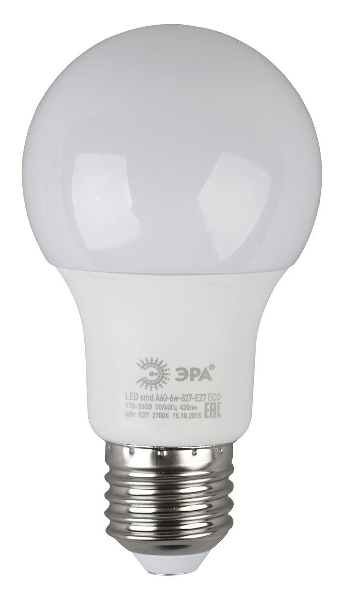 Лампа светодиодная ЭРА Eco, цоколь E27, 170-265V, 6W, 4000КC0044108Светодиодная лампа ЭРА Eco является самым перспективным источником света. Основным преимуществом данного источника света является длительный срок службы и очень низкое энергопотребление, так, например, по сравнению с обычной лампой накаливания светодиодная лампа служит в среднем в 50 раз дольше и потребляет в 10-15 раз меньше электроэнергии. При этом светодиодная лампа практически не подвержена механическому воздействию из-за прочной конструкции и позволяет получить любой цвет светового потока, что, несомненно, расширяет возможности применения и позволяет создавать новые решения в области освещения.Серия Eco достаточна для обычного потребителя. Работа в цепи с выключателем с подсветкой не рекомендована.