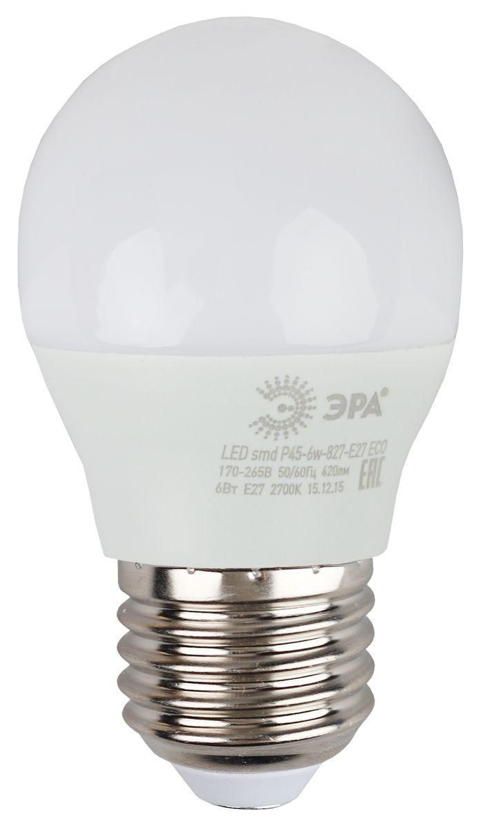 Лампа светодиодная ЭРА Eco, цоколь E27, 170-265V, 6W, 4000К. Р45-6w-840-E27 ECO5055945536560Светодиодная лампа ЭРА Eco является самым перспективным источником света. Основным преимуществом данного источника света является длительный срок службы и очень низкое энергопотребление, так, например, по сравнению с обычной лампой накаливания светодиодная лампа служит в среднем в 50 раз дольше и потребляет в 10-15 раз меньше электроэнергии. При этом светодиодная лампа практически не подвержена механическому воздействию из-за прочной конструкции и позволяет получить любой цвет светового потока, что, несомненно, расширяет возможности применения и позволяет создавать новые решения в области освещения. Серия Eco достаточна для обычного потребителя. Работа в цепи с выключателем с подсветкой не рекомендована.