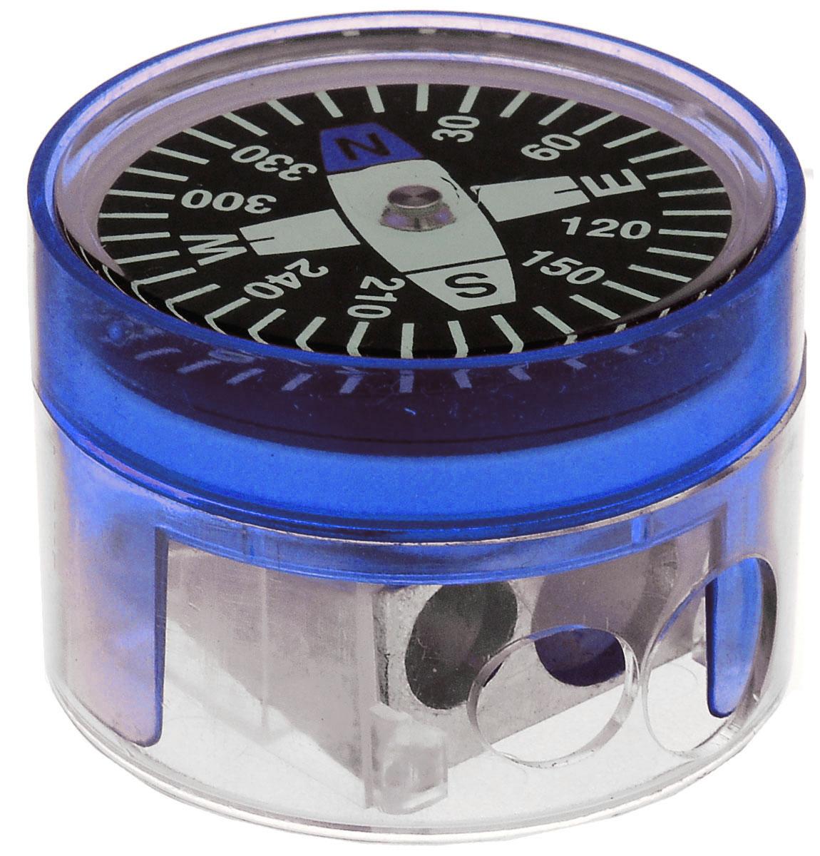 Brunnen Точилка двойная Компас цвет синий29836\255718\BCD_синийДвойная точилка Brunnen Компас выполнена из прочного пластика. В точилке имеются два отверстия для карандашей различного диаметра, подходит для разных видов карандашей. При повороте пластикового контейнера, отверстия закрываются. Полупрозрачный контейнер для сбора стружки позволяет визуально контролировать уровень заполнения и вовремя производить очистку. В крышку контейнера встроен небольшой компас.