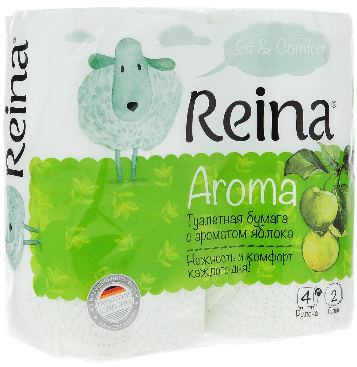 Бумага туалетная Reina Aroma. Яблоко, ароматизированная, двухслойная, 4 рулона22Ароматизированная туалетная бумага Reina Aroma. Яблоко выполнена из натуральной целлюлозы и обладает приятным ароматом яблока. Двухслойная туалетная бумага мягкая, нежная, но в тоже время прочная. Листы имеют рисунок с перфорацией. Длина рулона: 18 м. Количество листов: 156 шт. Количество слоев: 2. Размер листа: 11,5 х 9,4 см. Состав: 100% целлюлоза.